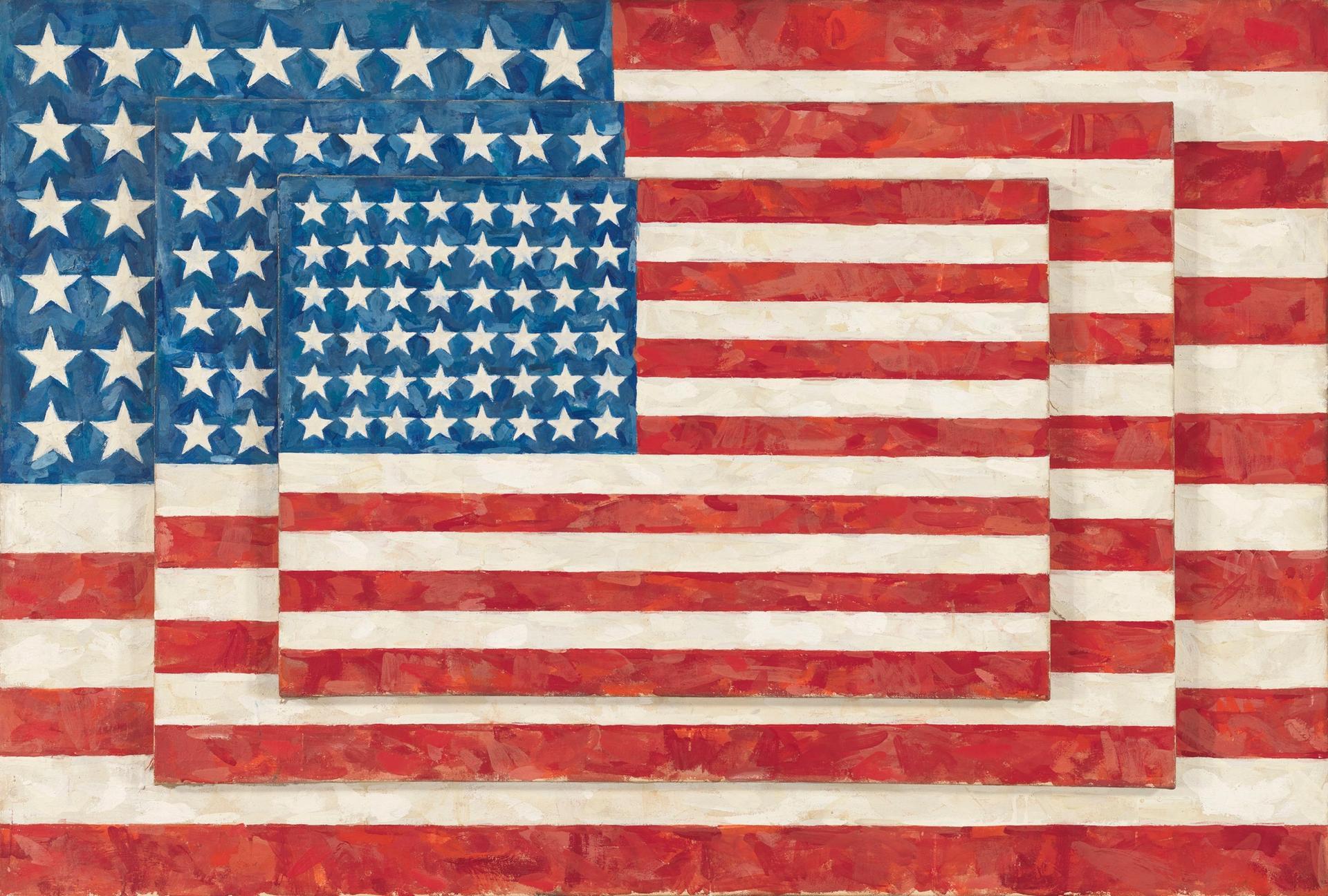 Jasper Johns's Three Flags (1958). © 2021 Jasper Johns / Licensed by VAGA at Artists Rights Society (ARS), NY