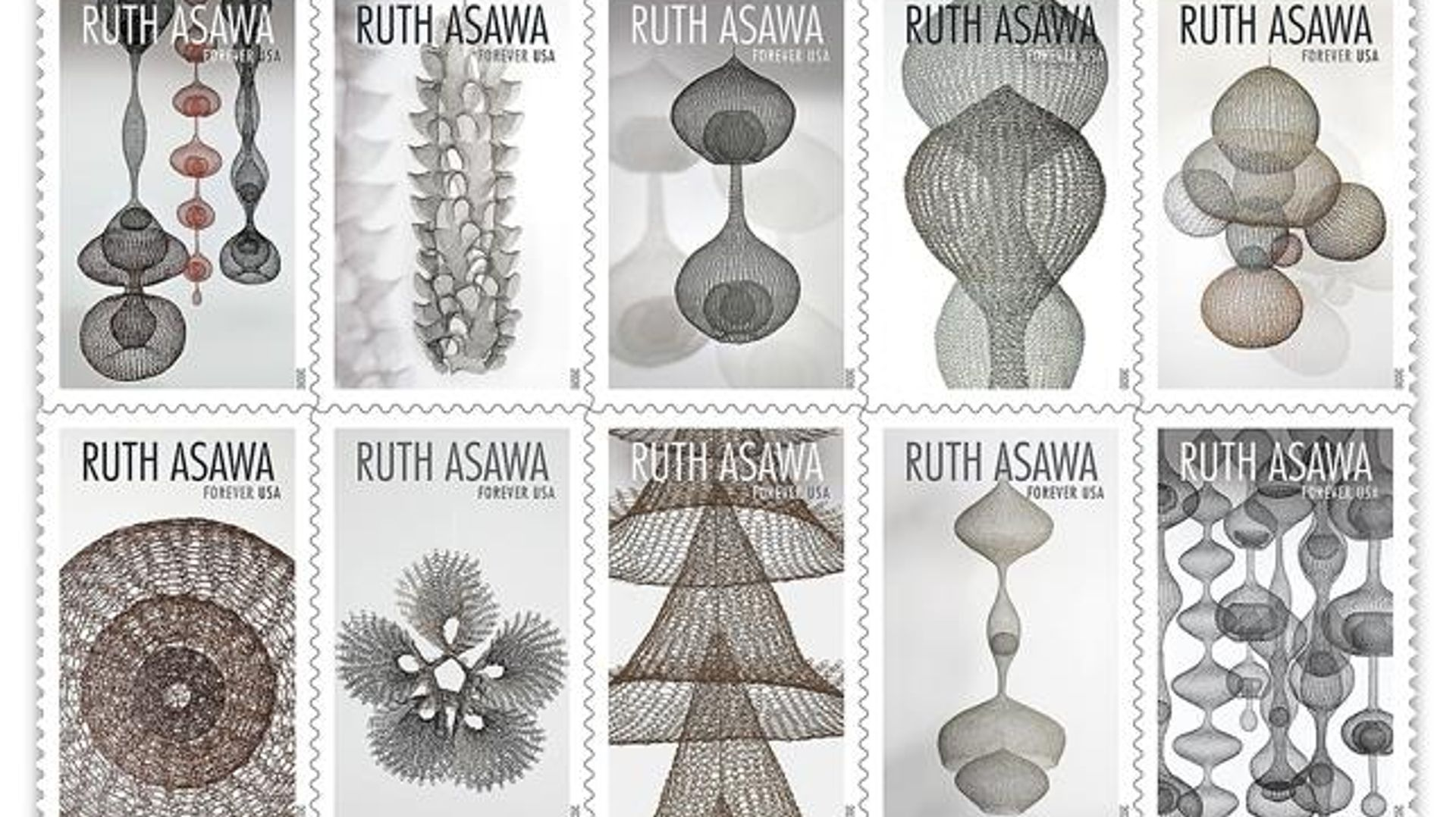 The black-and-white stamps, sold in sheets of 20 for $11, have been designed by the USPS art director Ethel Kessler and feature images of works made between 1954 and 1996