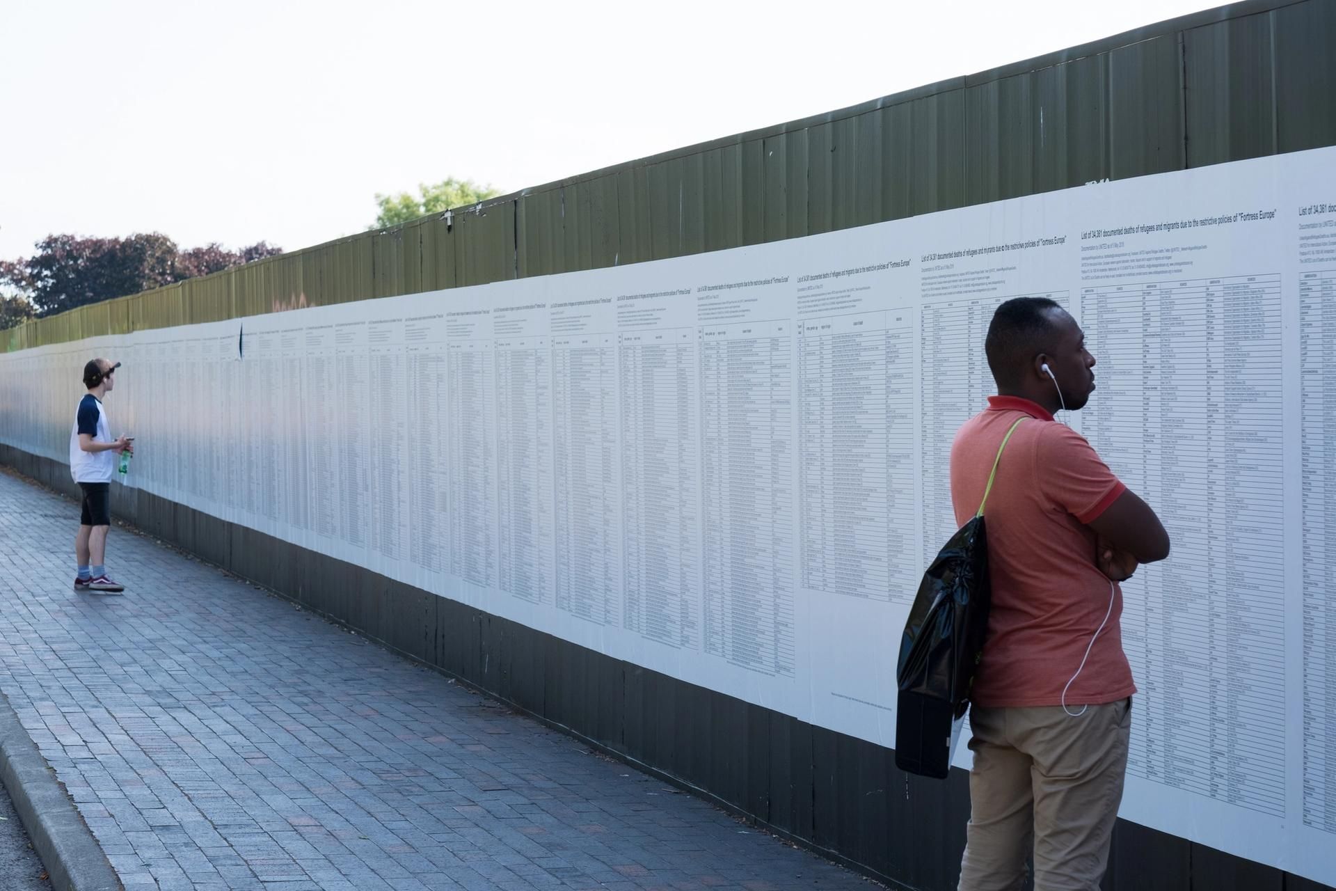 The biennial organisers are presenting The List in collaboration with the Turkish artist Banu Cennetoglu who has translated and widely distributed the list of names of refugees who have died, which is compiled and updated each year by United for Intercultural Action, a network of 550 organisations in 48 countries. Photo: Mark McNulty