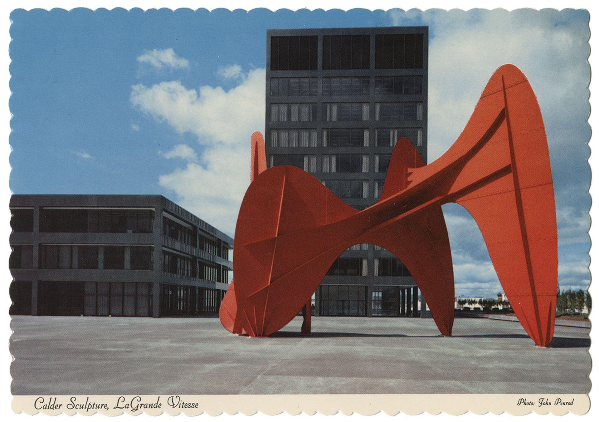 A postcard of Calder's La Grande vitesse (1969), Grand Rapids, Michigan Photo: © Calder Archive