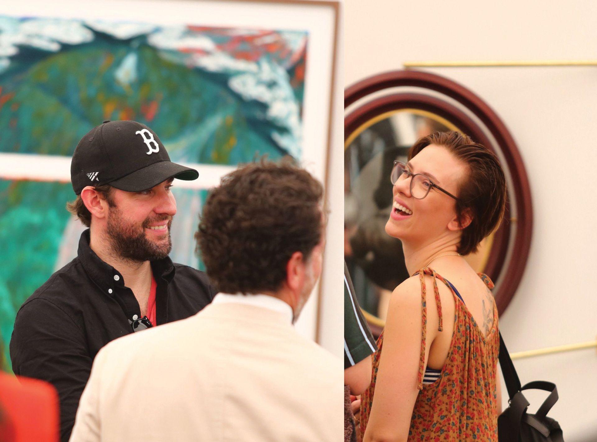 Star sightings: the actors John Krasinski and Scarlett Johansson mingled with other VIPs during Frieze's preview day Casey Fatchett