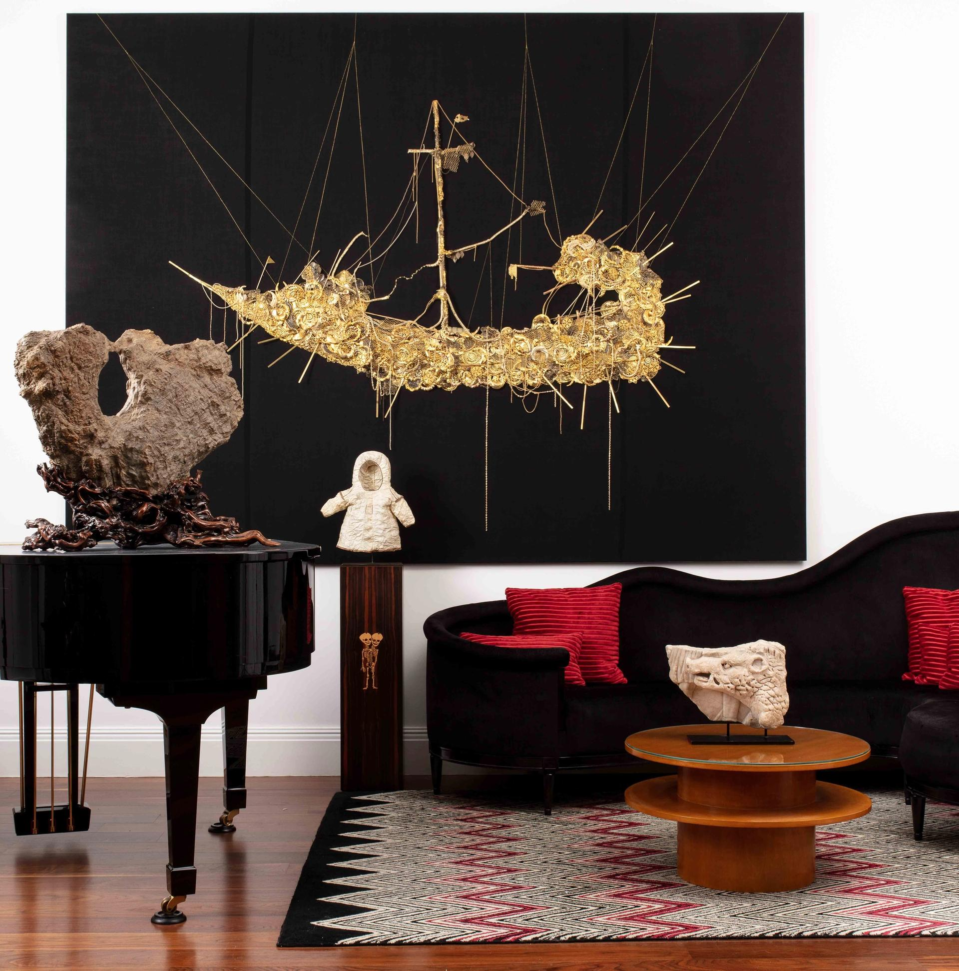 A work by Hew Locke alongside other items from the Peter Petrou sale Courtesy of Sotheby's