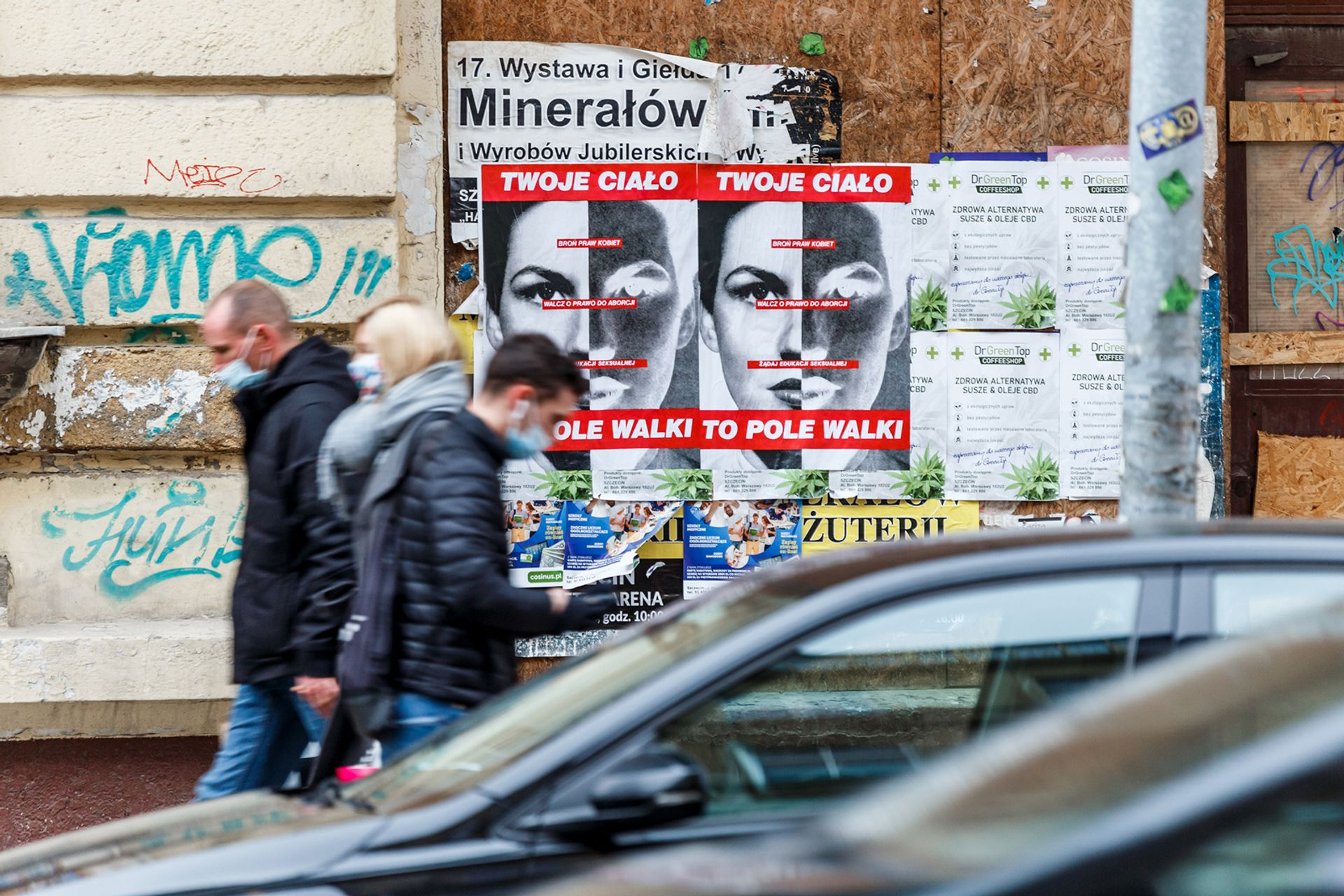 Barbara Kruger's Your Body is a Battleground has been plastered on the streets of Szczecin © Andrzej Golc