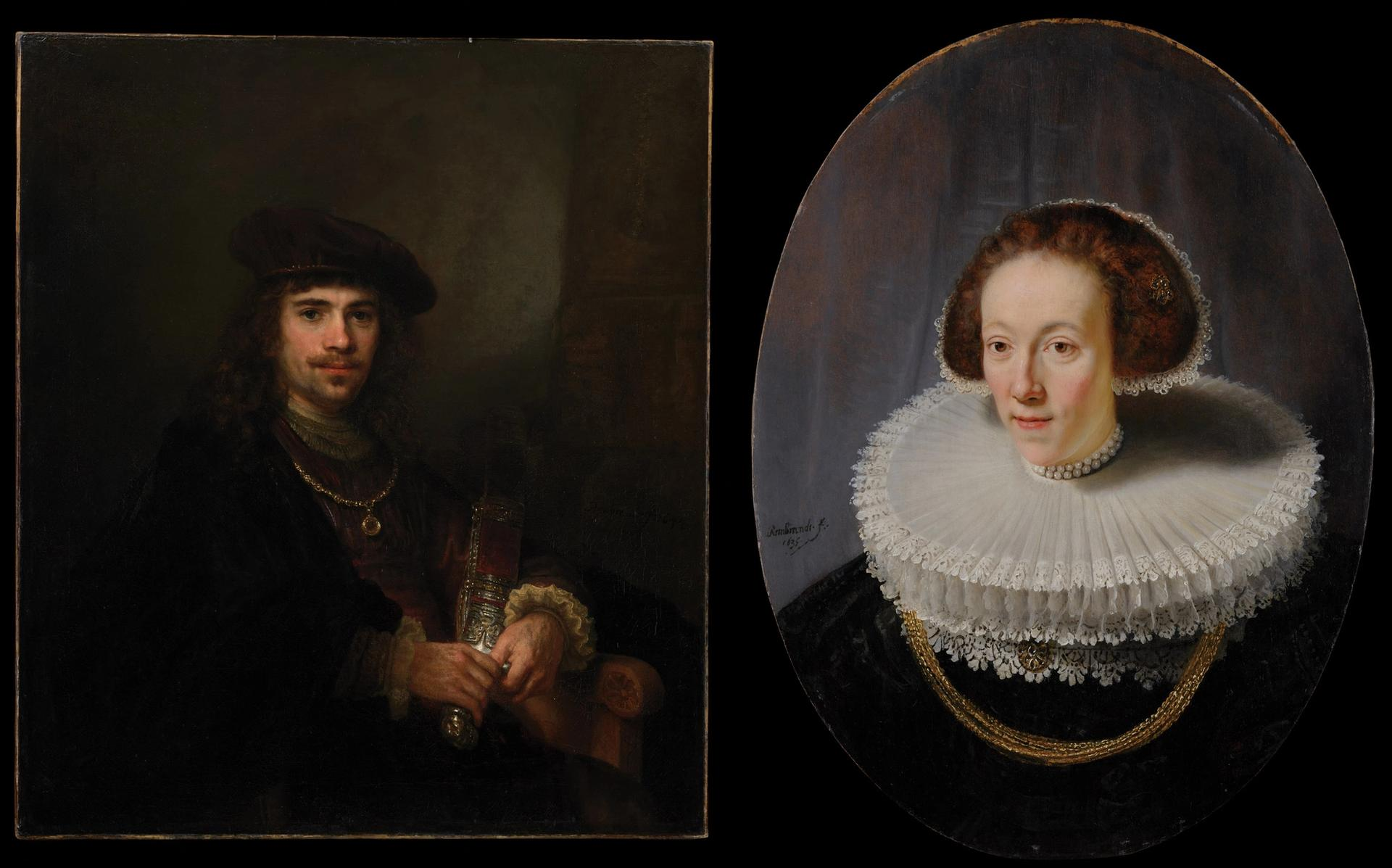 Man with a Sword (around 1640-44) and the Portrait of Petronella Buys (1635) The Leiden Collection