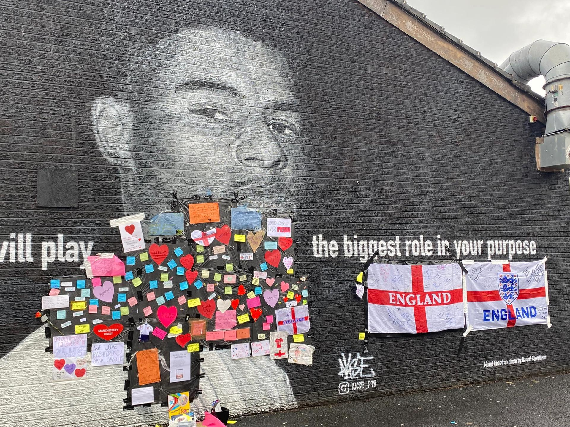 A mural of Marcus Rashford in Withington, Manchester Twitter