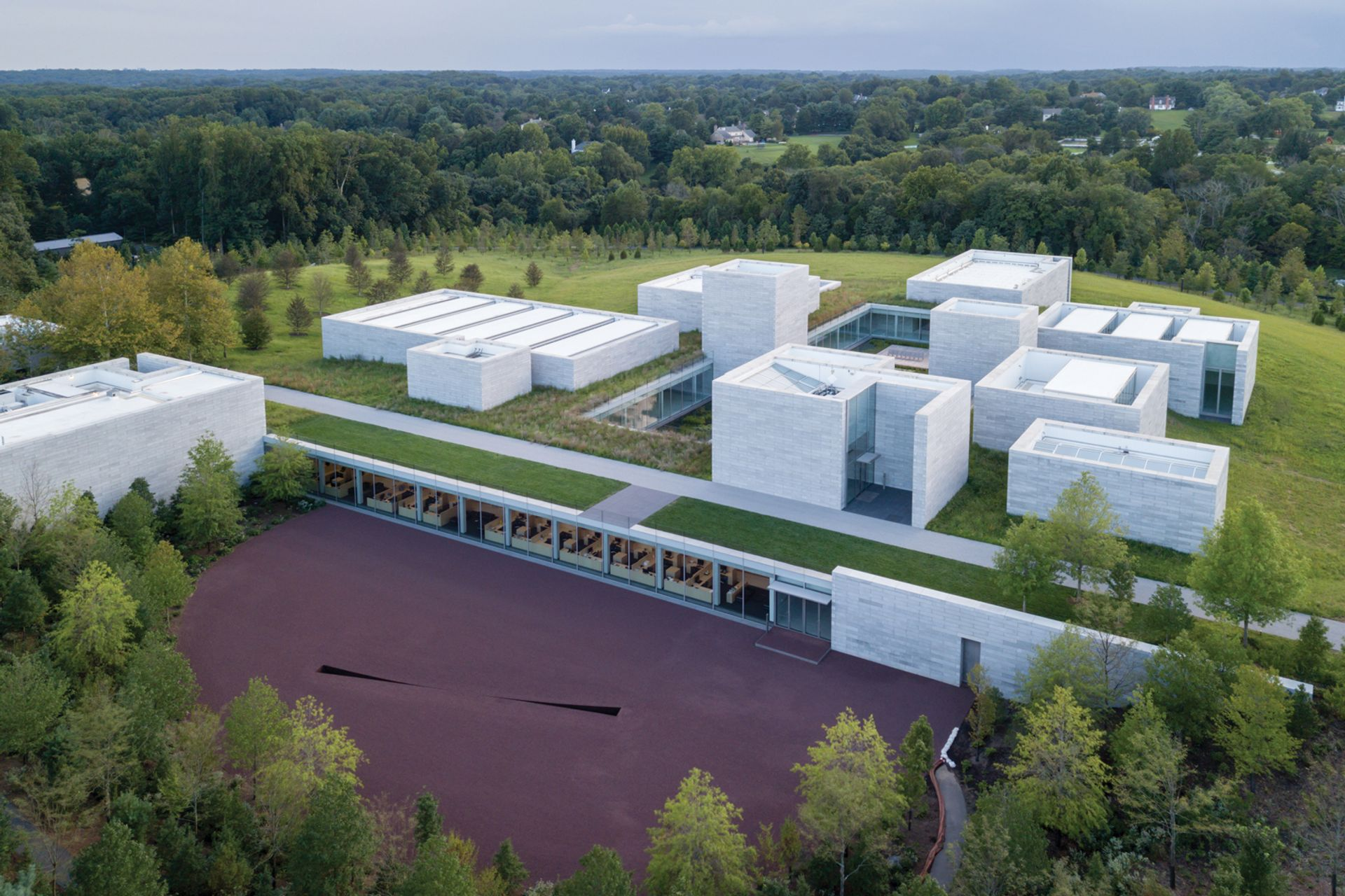 The new Pavilions building at Glenstone Photo: Iwan Baan; © Michael Heizer; courtesy of Glenstone Museum