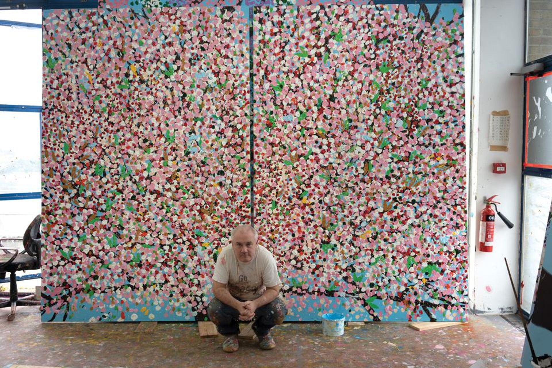 Damien Hirst is now producing most of his work solo, after a return to painting. His Cherry Blossom paintings are currently on show at the Fondation Cartier in Paris © Prudence Cuming