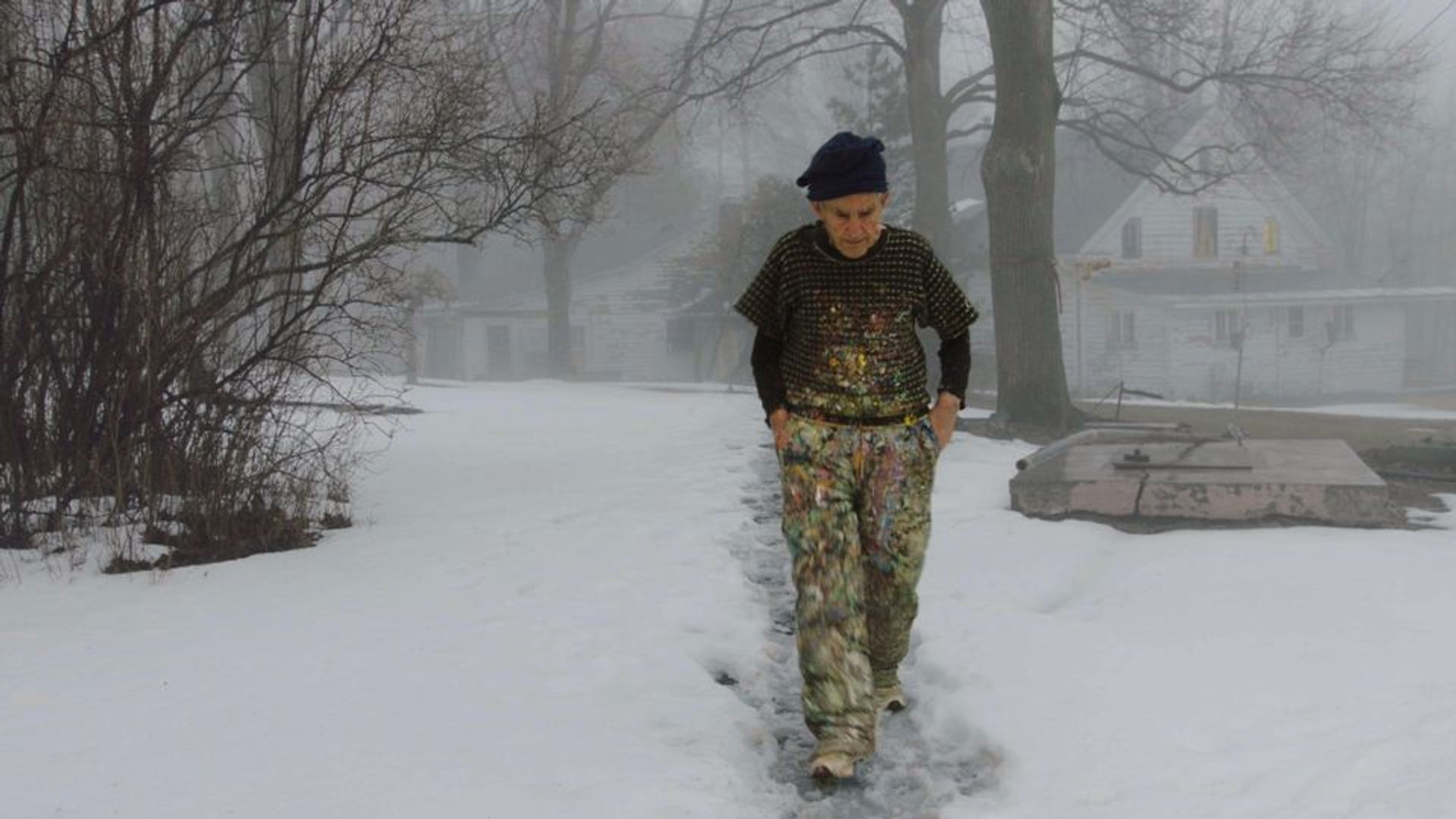 Painter Larry Poons walking to his studio in The Price of Everything, directed by Nathaniel Kahn Courtesy of HBO Documentary Films