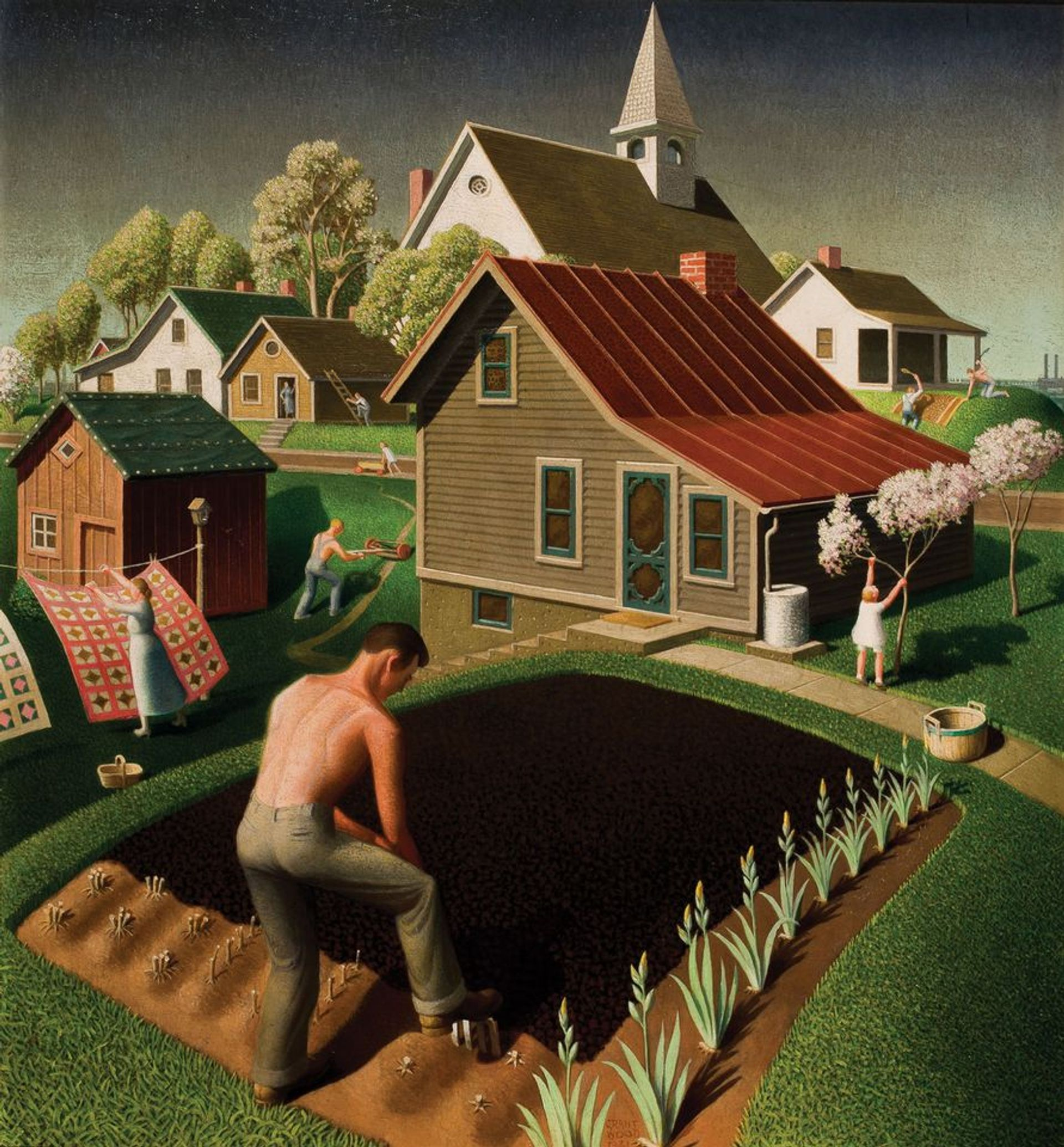 Grant Wood, Spring in Town (1941) Figge Art Museum/successors to the Estate of Nan Wood Graham; licensed by VAGA, New York