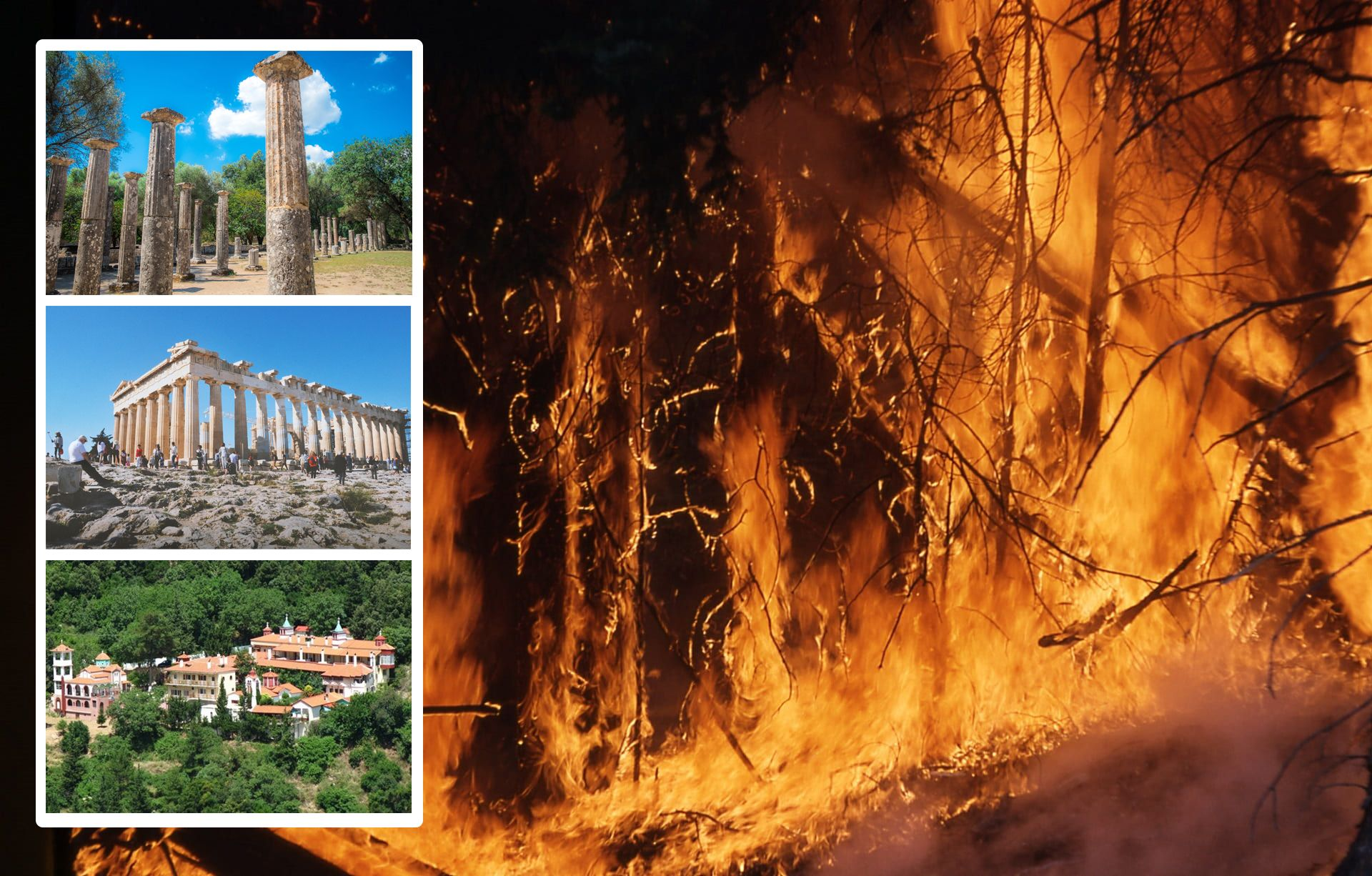Fires rage in Greece threatening historic sites including Olympia (top) and the Monastery of Saint David on Evia island (bottom), while the Acropolis in Athens (centre) has been forced to close Acropolis: Francesca Noemi Marconi