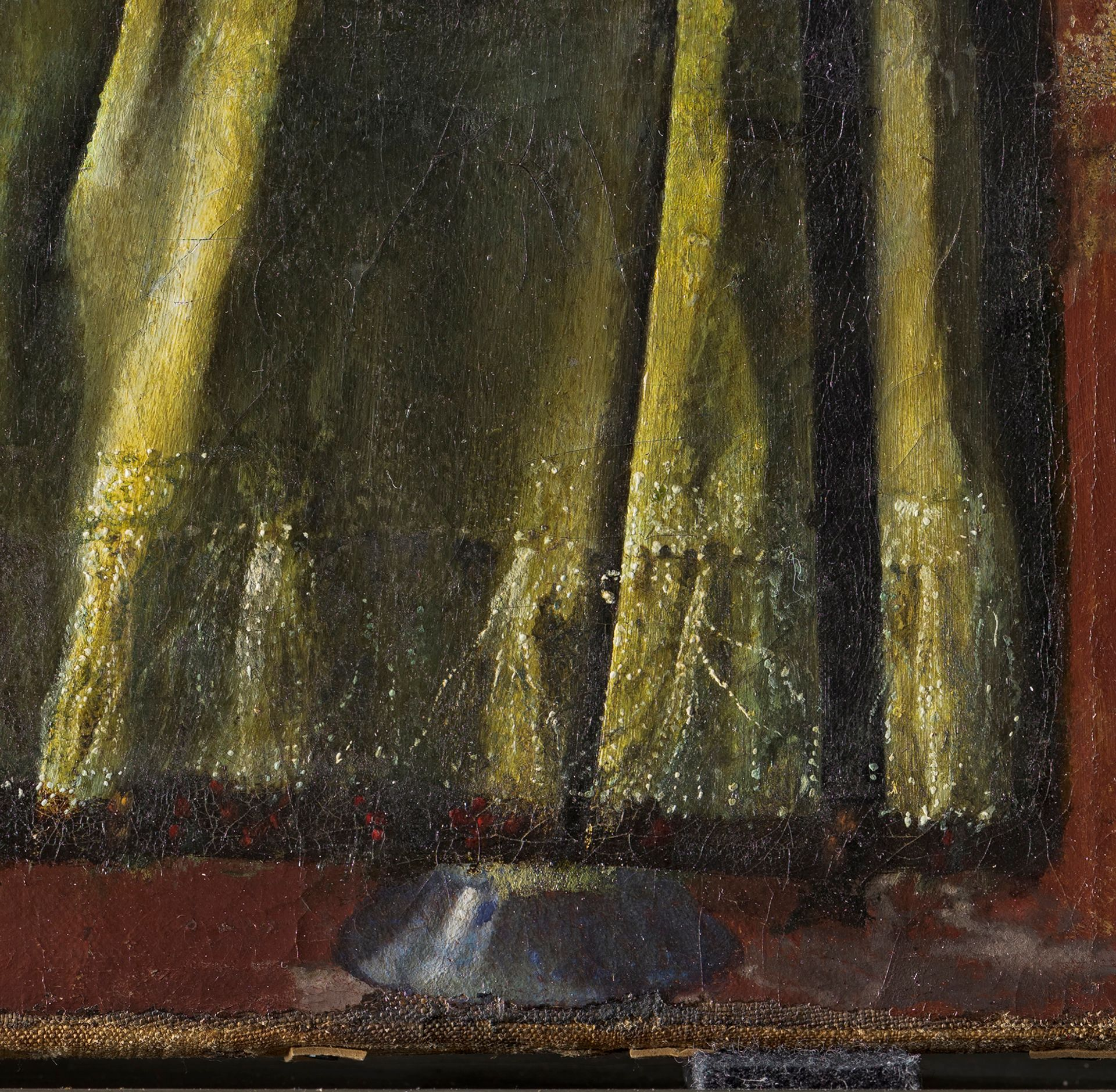 Detail of Vermeer's Girl reading a Letter at an Open Window (1657-59) showing the base of the wine glass Courtesy SKD