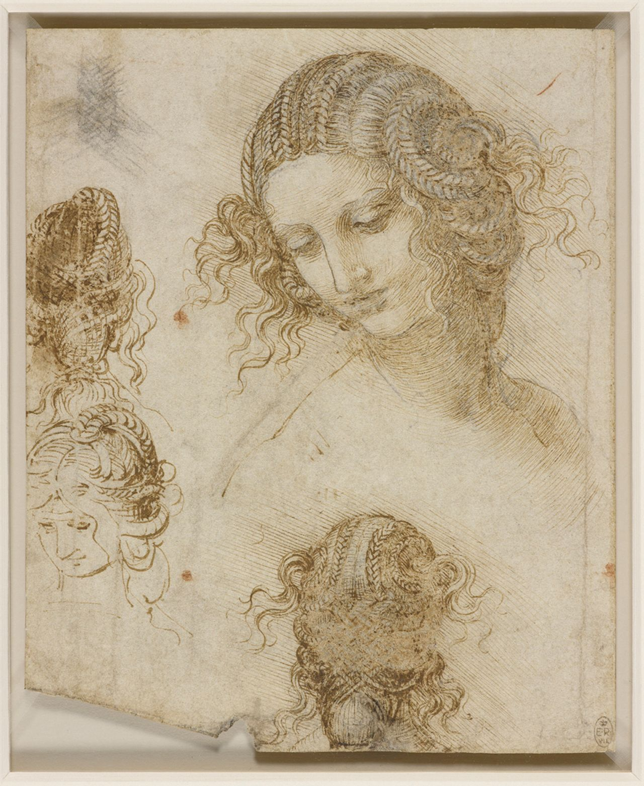 The head of Leda (around 1505-08), a study for Leonardo's missing Leda and the Swan, is one of 23 works to be lent to the Louvre show by the Royal Collection Royal Collection Trust, © Her Majesty Queen Elizabeth II 2019