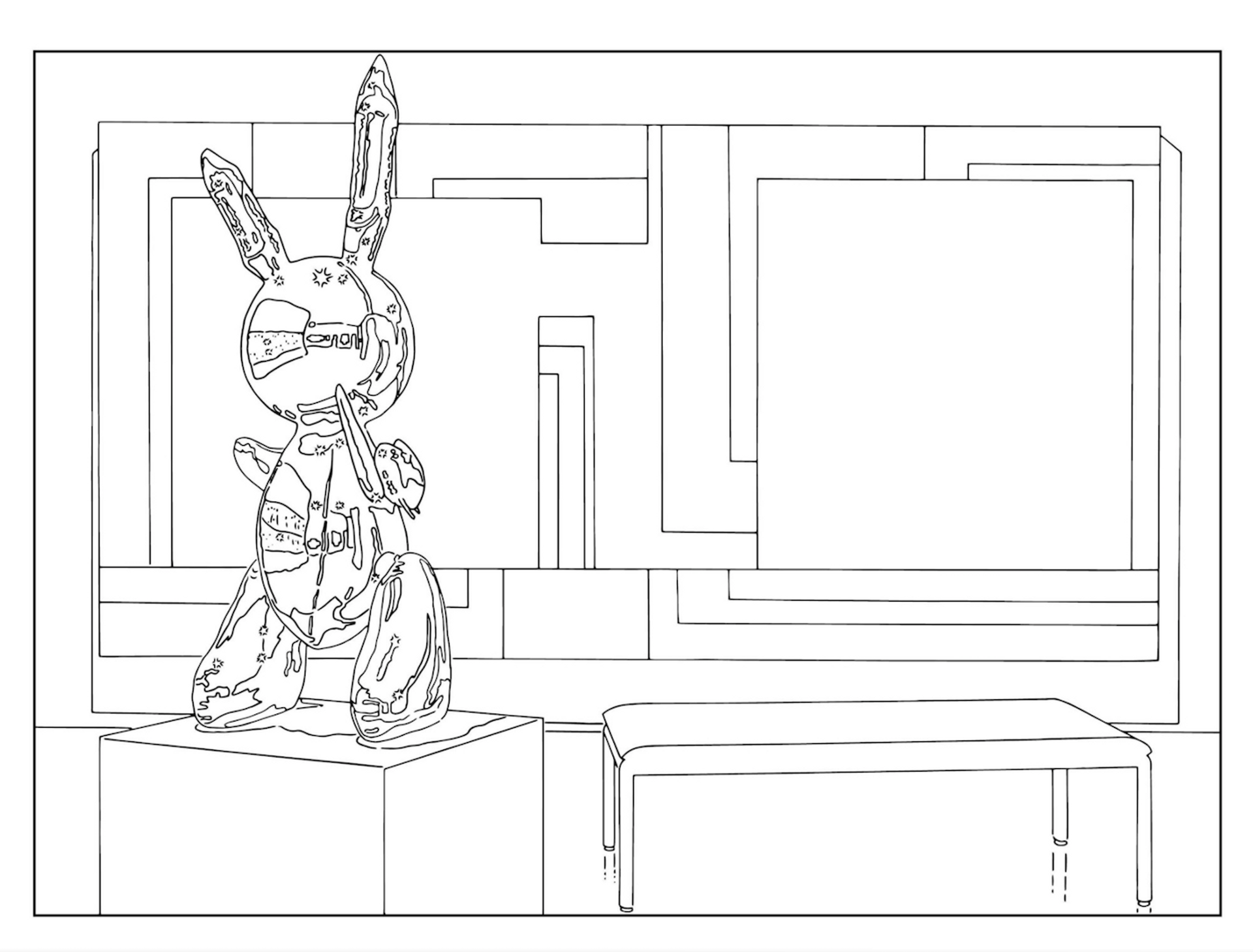 (Bunny) Sculpture and Painting (traced) (1999/2019) Courtesy of the artist and Metro Pictures, New York