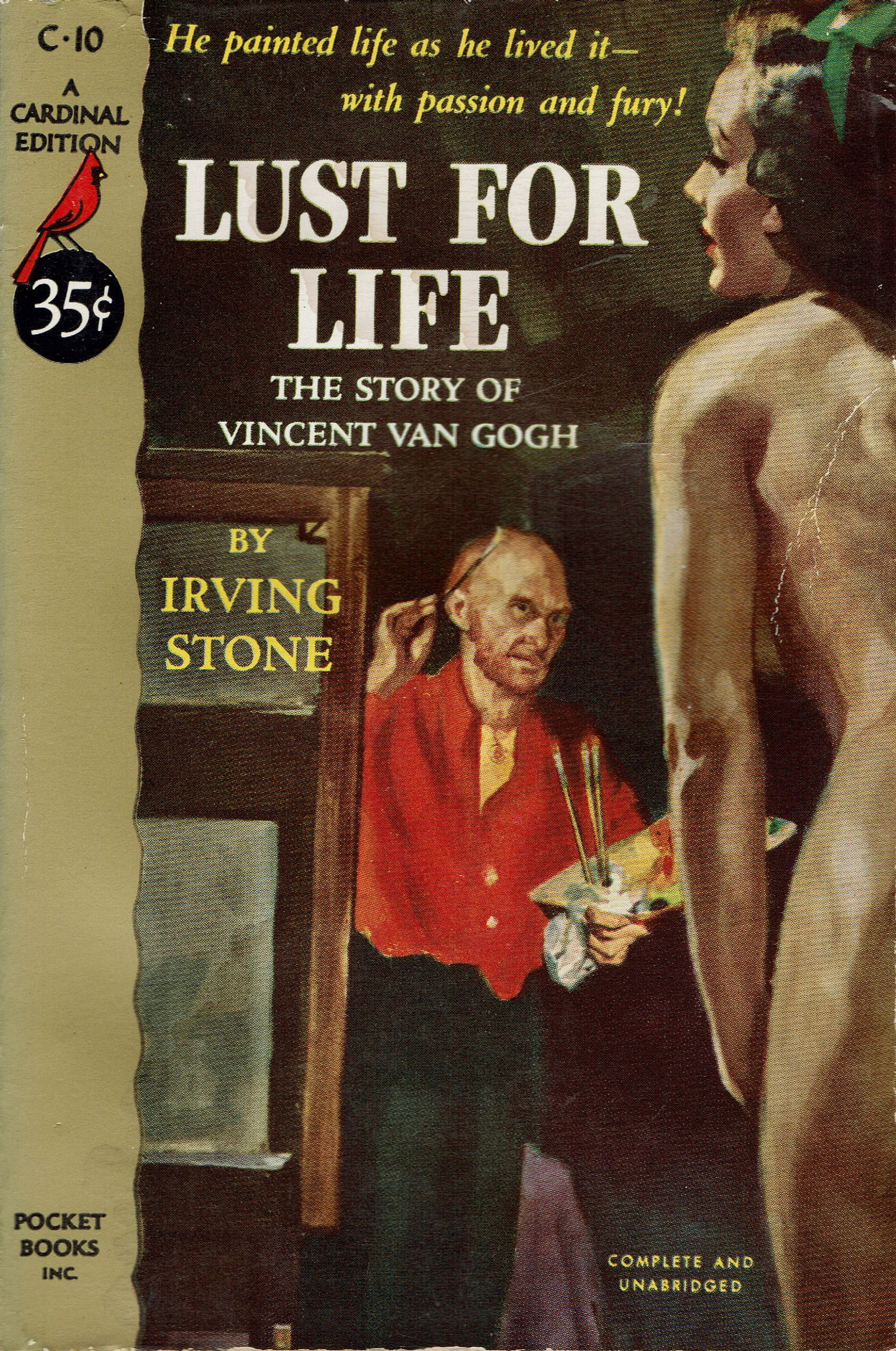 Cover of Irving Stone's novel Lust for Life: The Story of Vincent van Gogh, Pocket Books/Cardinal edition, 1951