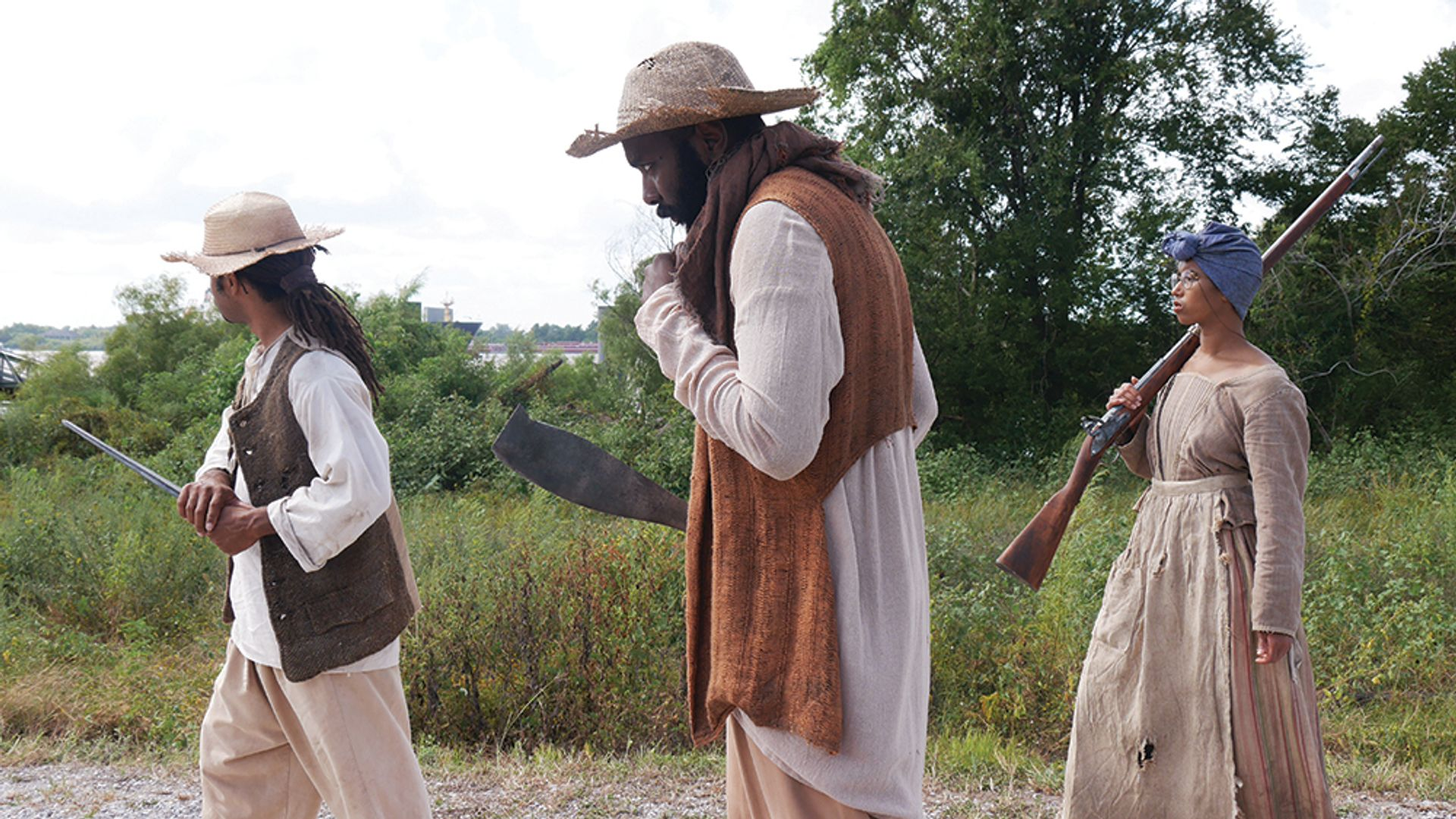 A rehearsal in period dress for the Slave Rebellion Re-enactment courtesy of the artist