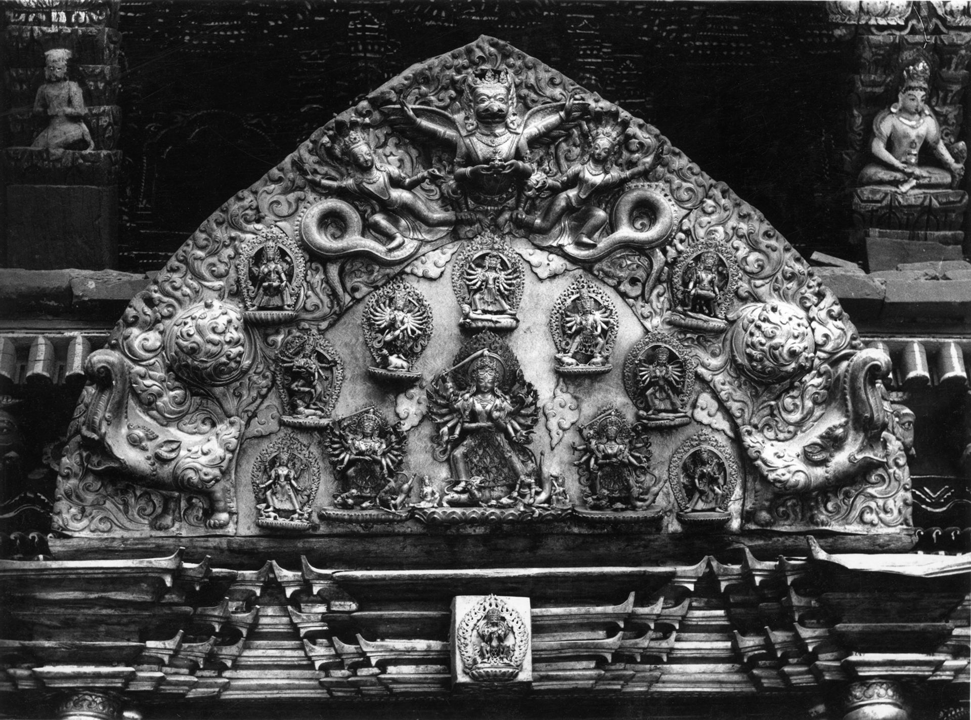 The frieze above the golden gateway of Taleju Bhawani Temple at Patan Durbar Square Image: courtesy of Lost Arts of Nepal
