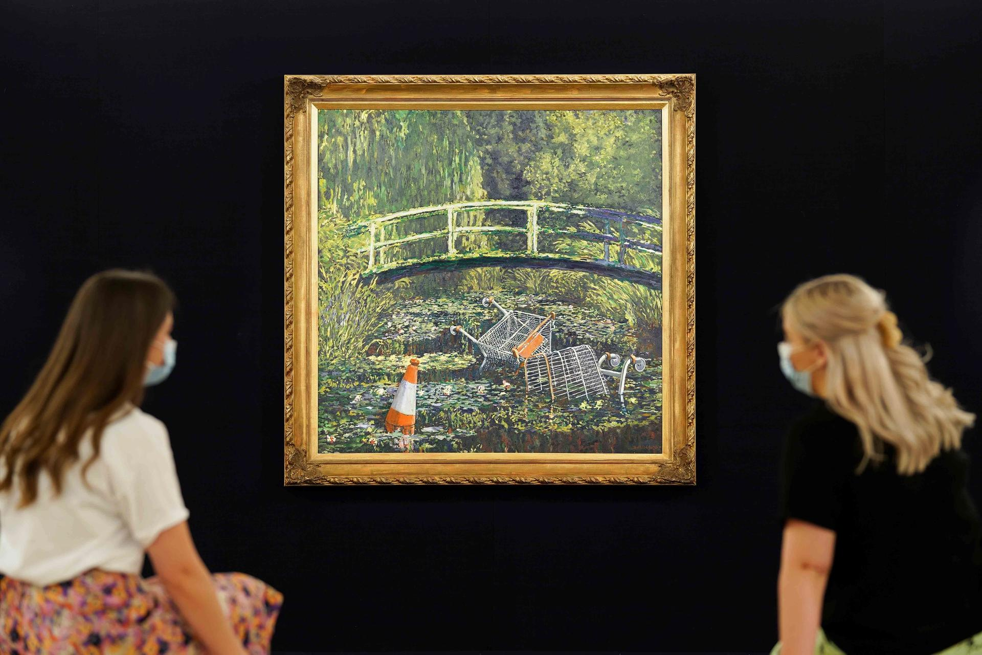 Banksy's Show Me the Monet sold last night for £7.6m Courtesy of Sotheby's
