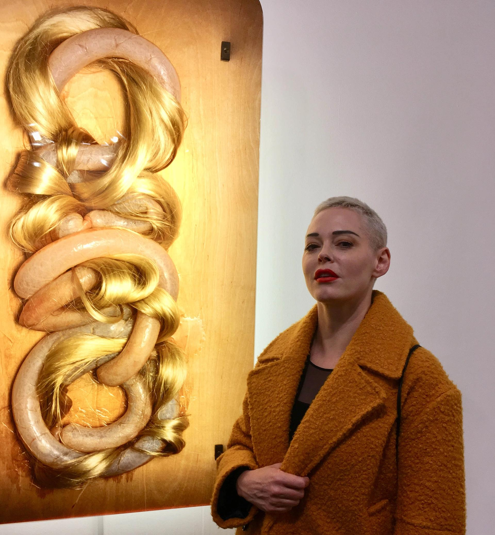 """Rose McGowan, the actress and pioneer of the #metoo movement, visited the Social Work section at Frieze London yesterday on the first anniversary of #MeToo. She described the section as: """"incredibly powerful, moving and profound."""" Adding: """"To see this display in such a beautiful way means the world to me especially in the world that we are now living in."""" © Louisa Buck"""