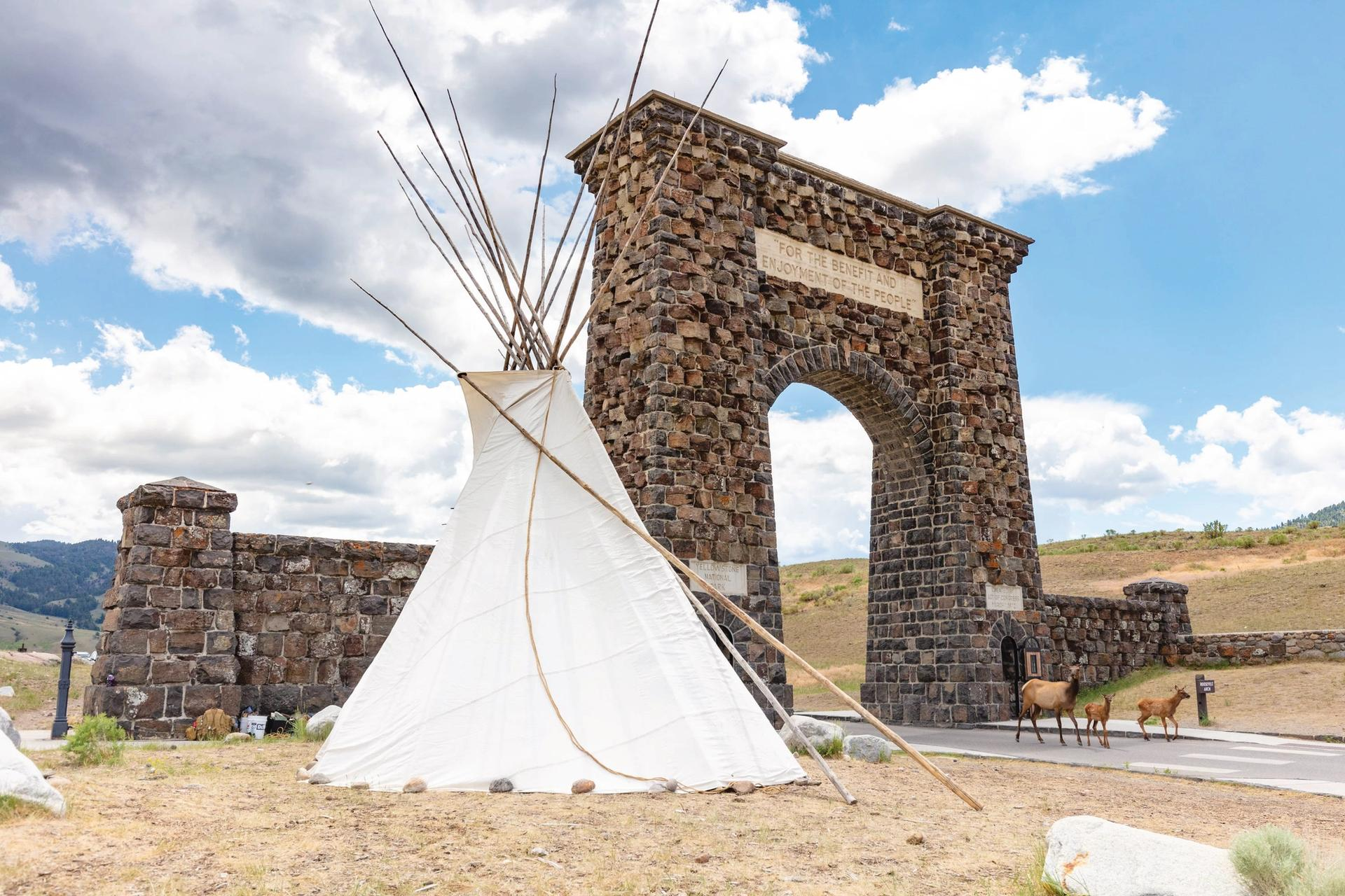 A Yellowstone Revealed summit organised by Mountain Time Arts at the Roosevelt Arch, at the northern entrance to Yellowstone National Park, drew attention to the history of Indigenous culture in the region Courtesy of Mountain Time Arts