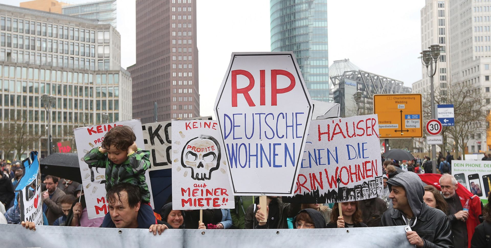 Local residents stage a protest in Berlin Adam Berry/Getty Images