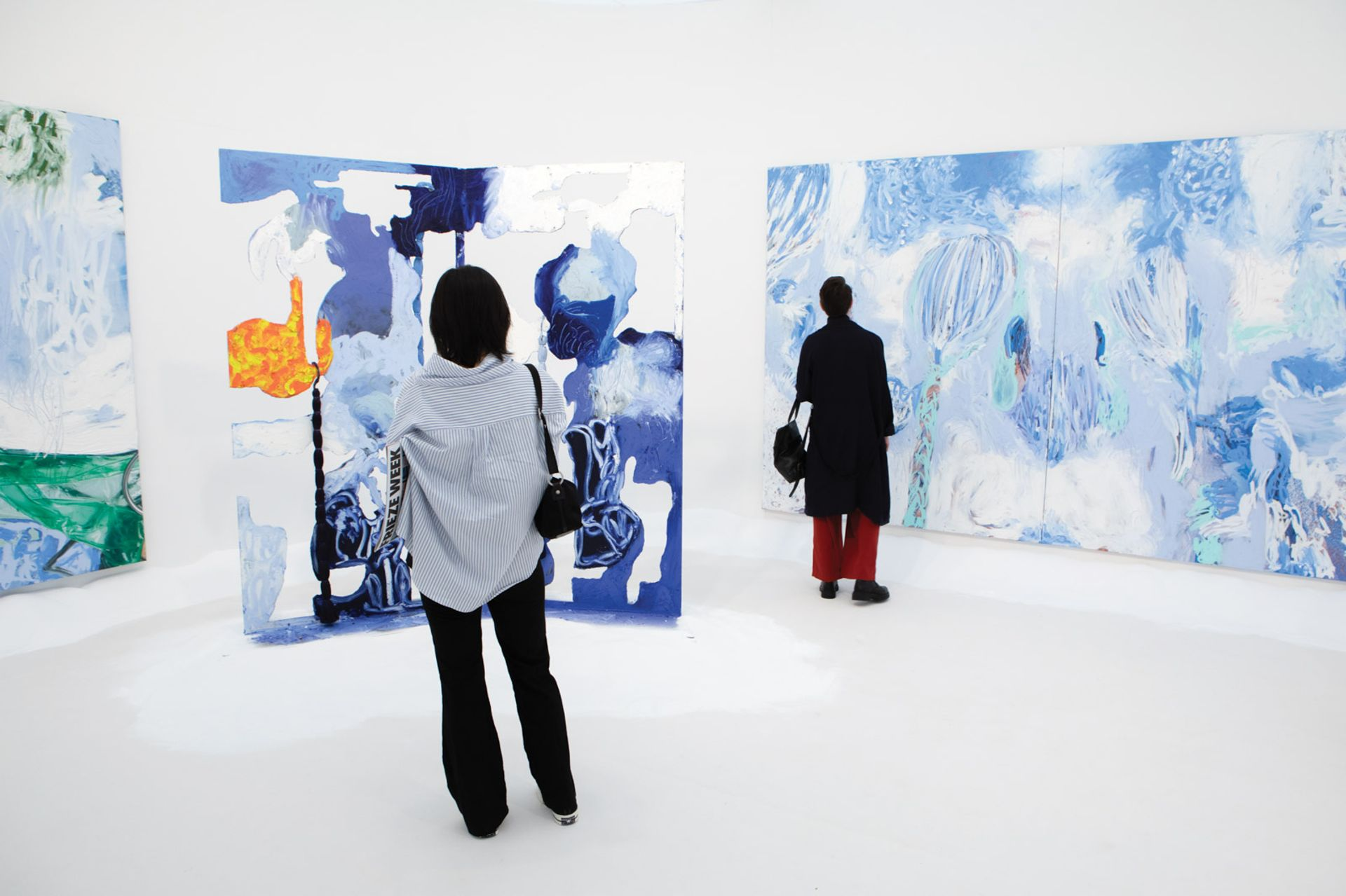 Donna Huanca's canvases at Simon Lee's stand, with prices starting at $50,000, have almost sold out David Owens