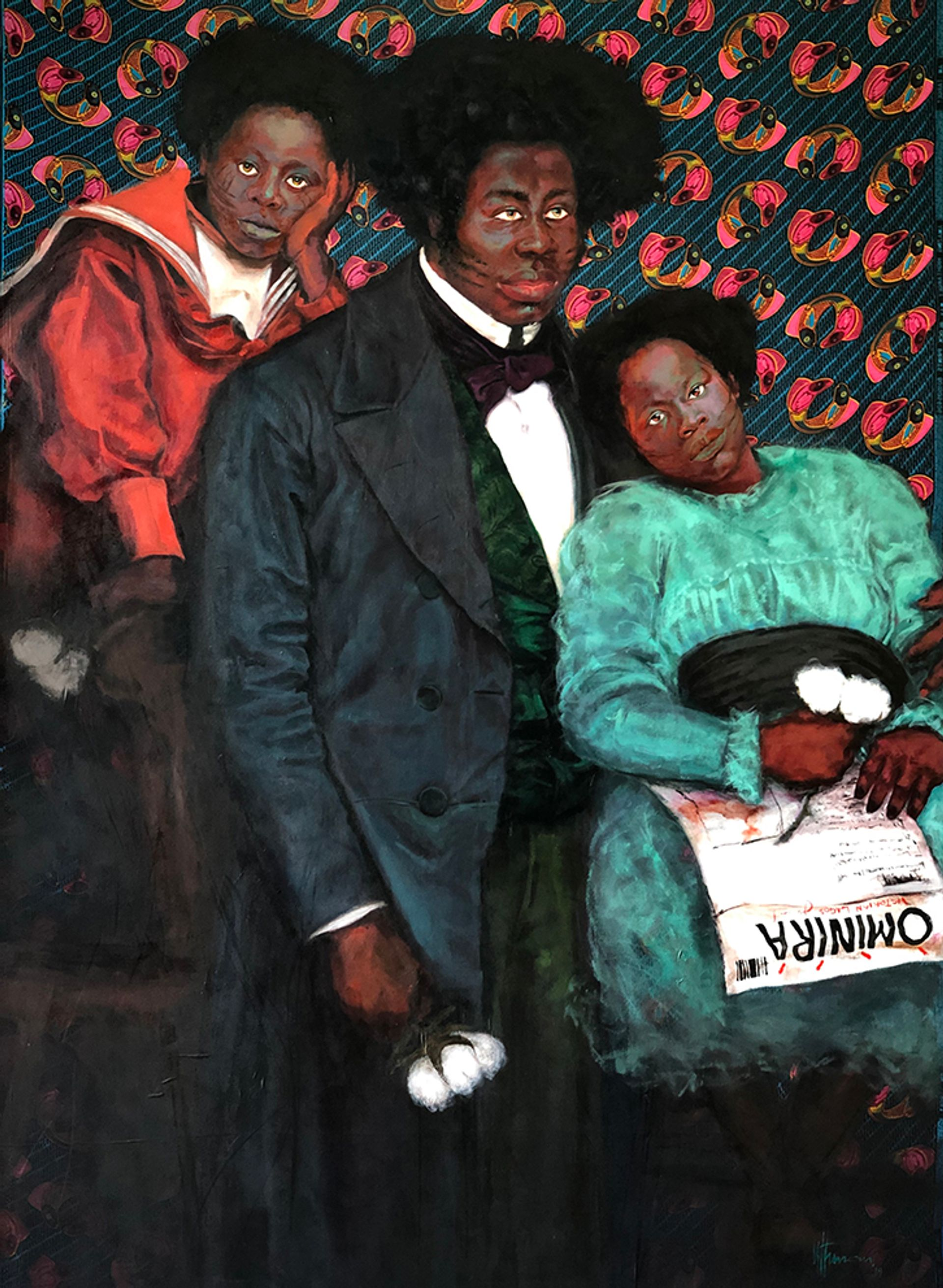 Uthman Wahaab, The Gbadébòs (2019), from his Victorian Lagos series. A similar work hangs on the writer's wall Courtesy of the artist