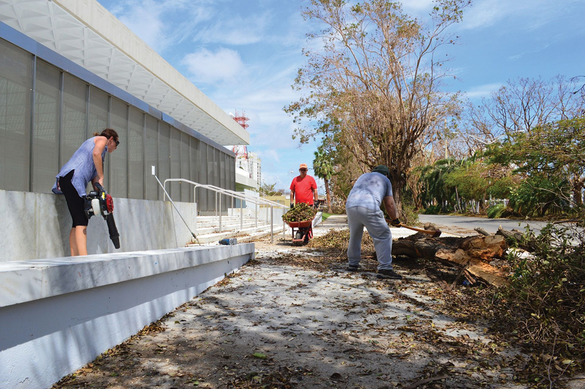 Workers clear up damage from Hurricane Maria at the Museo de Arte de Ponce Courtesy of the Museo de Arte de Ponce