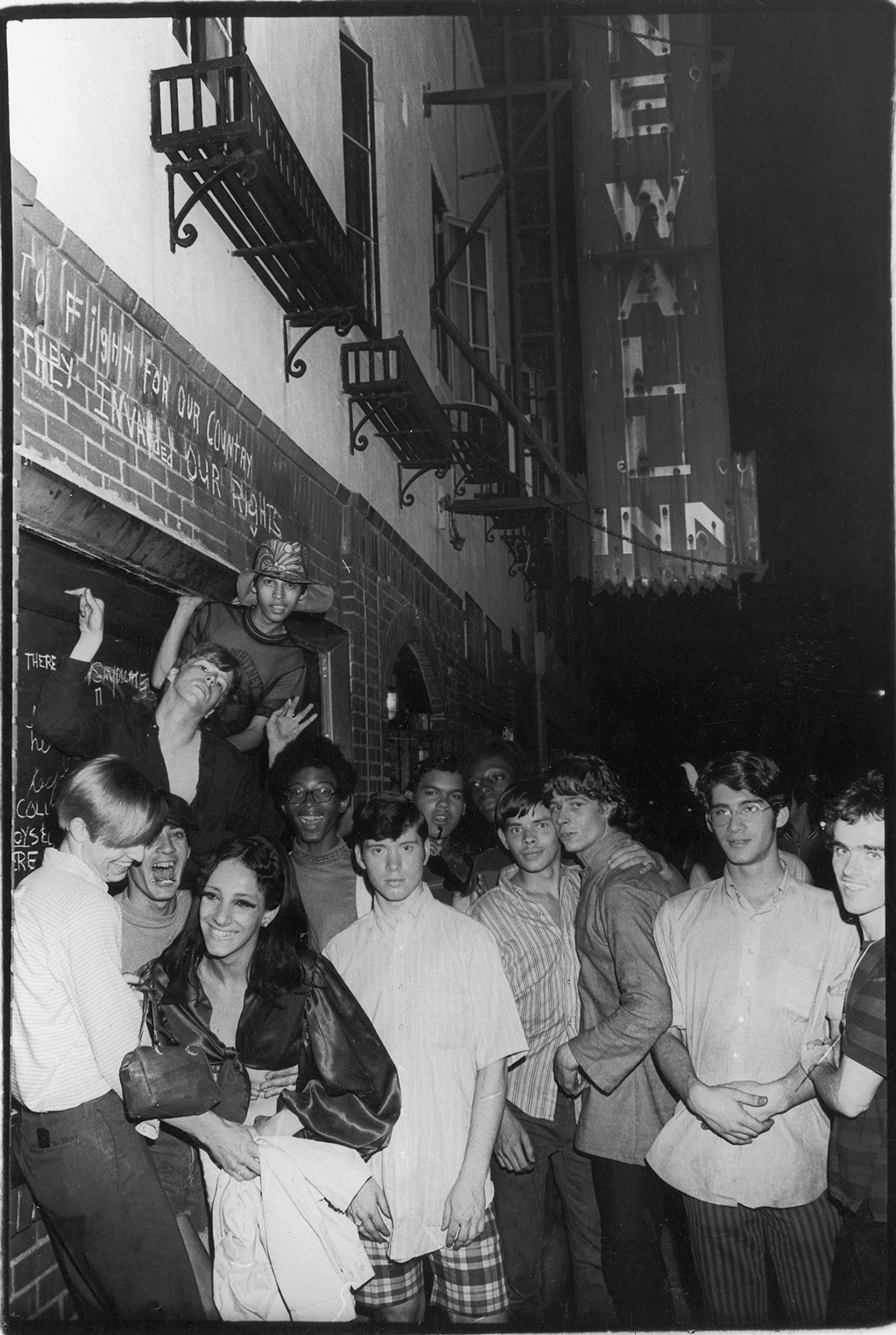 Fred W. McDarrah, Celebration After Riots Outside Stonewall Inn, on view at the Grey Art Gallery Fred McDarrah/Getty Images, courtesy of Pavel Zoubok Gallery