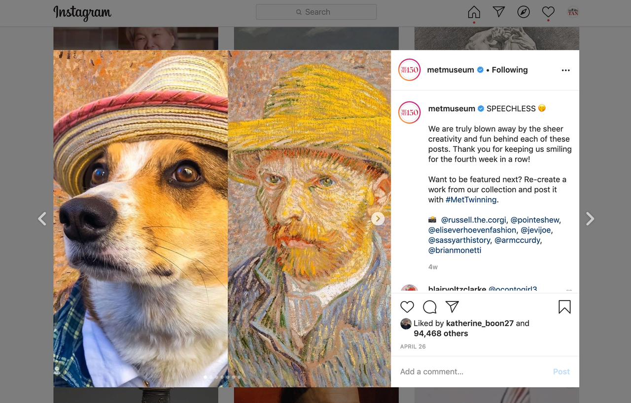 The Metropolitan Museum of Art's #MetTwinning campaign encouraged followers to recreate their favourite works from the museum's collection and share them on social media