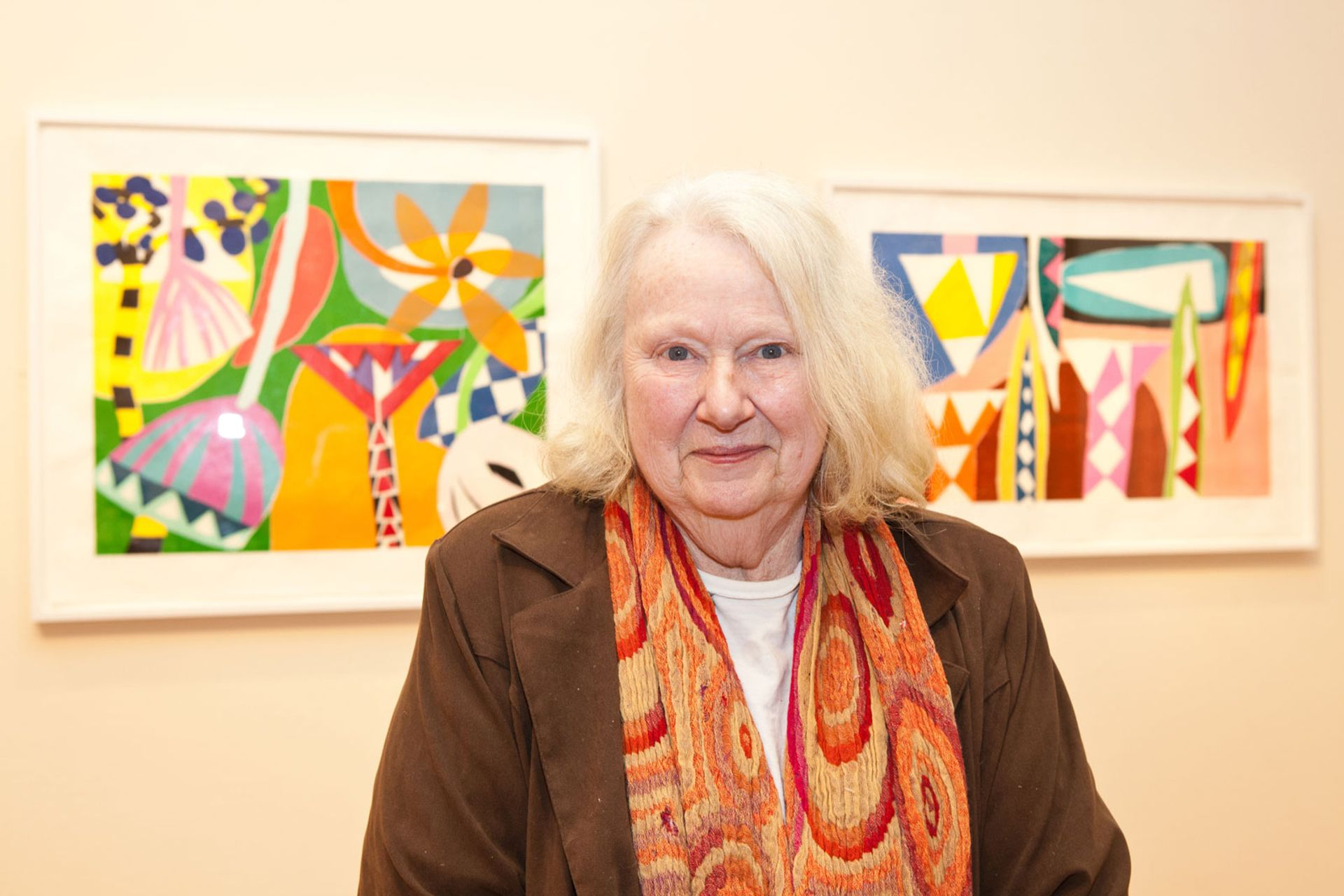 Gillian Ayres pictured in front of her prints at Victoria Art Gallery, Bath (2012) Courtesy of Alan Cristea Gallery
