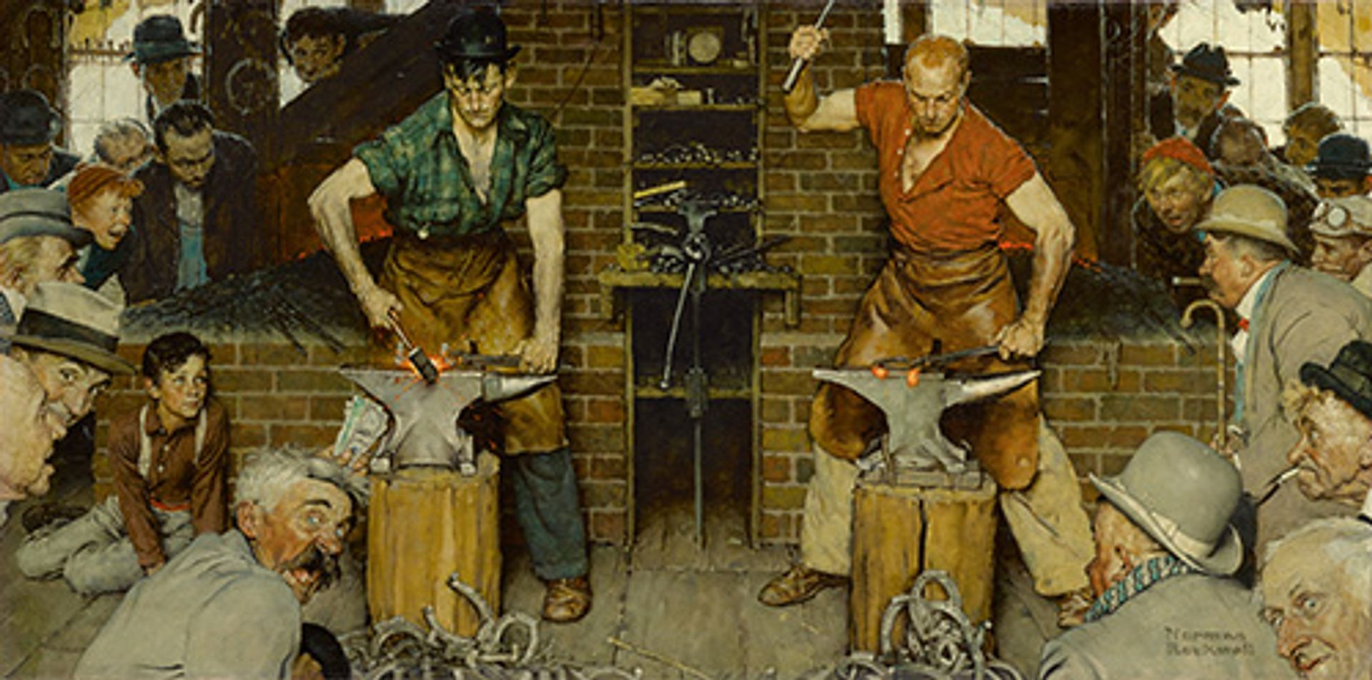 """Norman Rockwell, Blacksmith's Boy – Heel And Toe (Shaftsbury Blacksmith Shop; """"I'll Never Forget That Last Hour. and never, i imagine, will any of those who watched. Both Men Were Lost To Everything Now But The Swing From The Forge To The Anvil, The Heels To Be Turned And The Toes To Be Welded.""""), 1940 sold for $8.1m (est $7m-$10m) SEPS licensed by Curtis Licensing Indianapolis, IN. All rights reserved and courtesy of Sotheby's"""