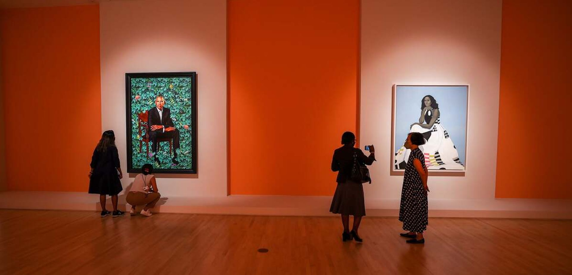 The Obama Portraits at the Brooklyn Museum in New York Photo: Tayfun Coskun/Anadolu Agency via Getty Images