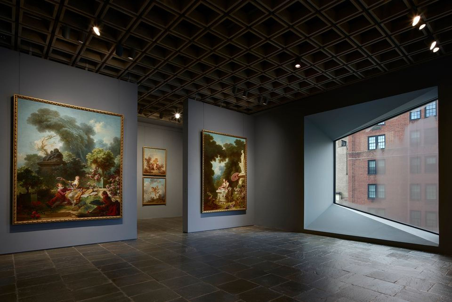 Four grand panels of Fragonard's series The Progress of Love are shown together at the Frick Madison in a gallery illuminated by one of Marcel Breuer's trapezoidal windows The Frick Collection. Photo: Joe Coscia