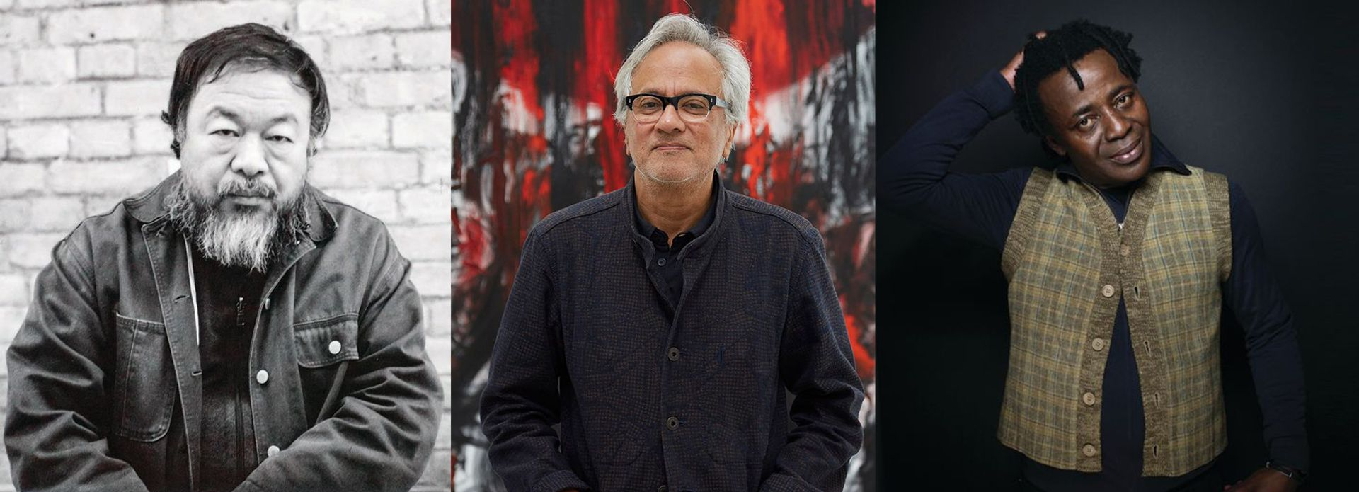 Ai Weiwei, Anish Kapoor and John Akomfrah are among 31  artists participating in the Bangkok Art Biennale who have signed a letter condemning state violence against democracy protests in Thailand ©Photos: Alfred Weidinger; courtesy of Lisson Gallery; Victoria Will/Invision/AP Images