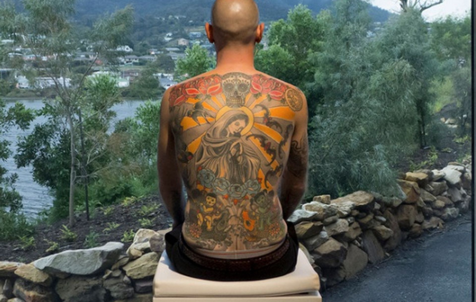 The Belgian artist Wim Delvoye has covered Tim Steiner's back with a tattoo of the Madonna crowned in a halo, topped with a Mexican skull; the piece is entitled Tim (2006-08) © Wim Delvoye