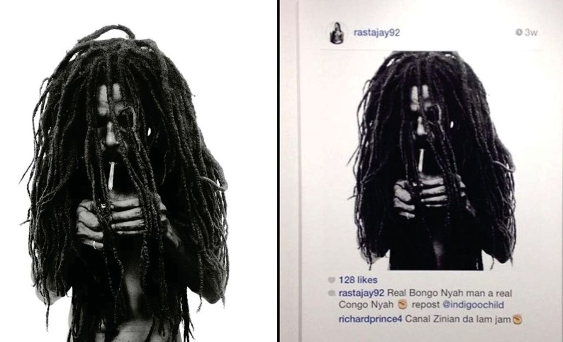 Donald Graham's photography, left, and Richard Prince's Instagram print, right
