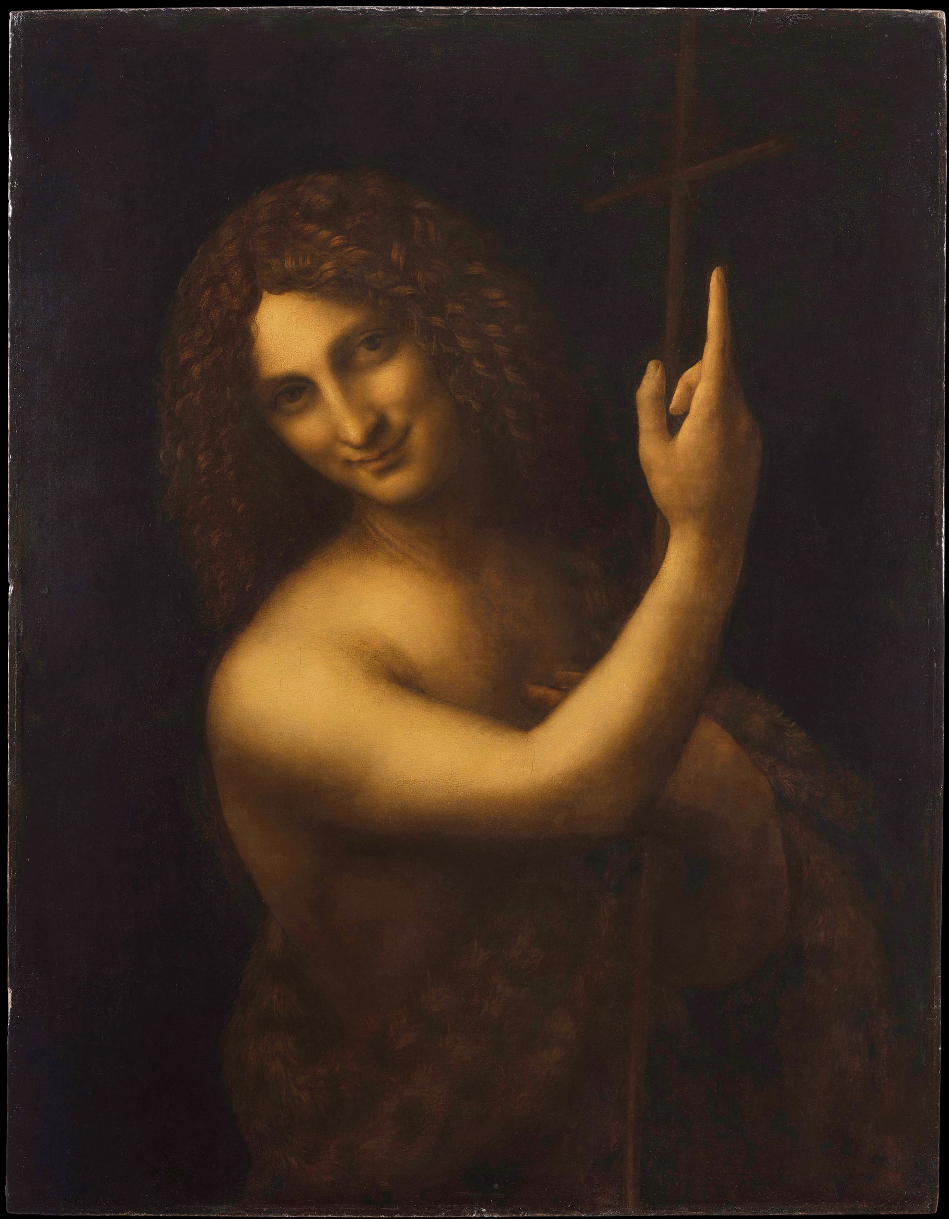 """St John the Baptist, painted between 1513 and 1516, will be shown in the section of the exhibition titled """"la vie"""" Image: courtesy of RMN-Grand Palais (Musée du Louvre). Photo © Michel Urtado"""