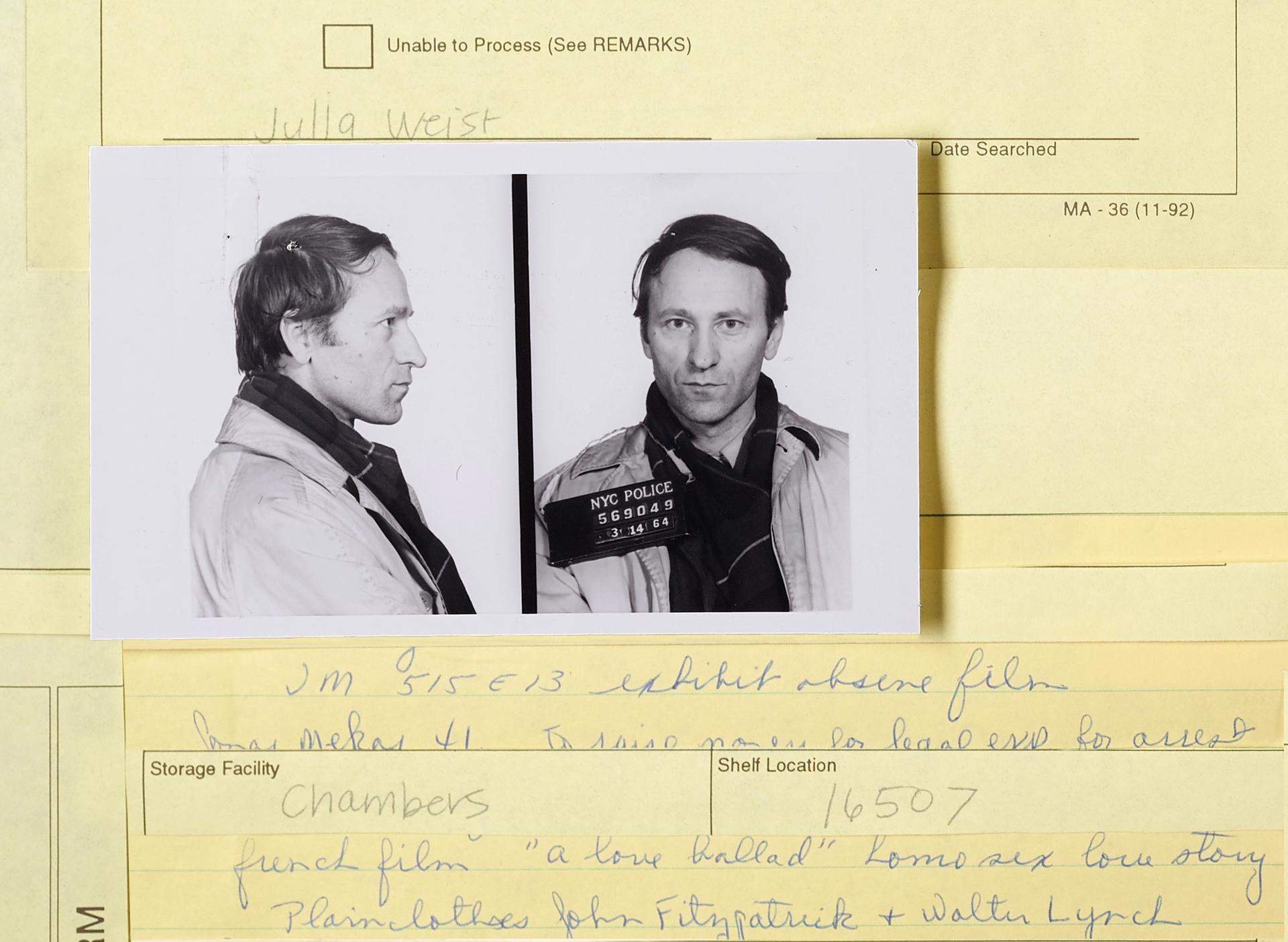 A mugshot of the artist Jonas Mekas from New York's Department of Records and Information Services, part of Julia's Weist's Public Record project Photo: Julia Weist