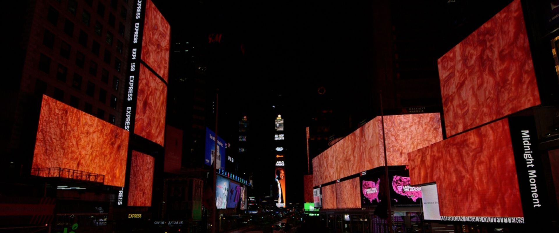 Sondra Perry 's digital work Flesh Wall is currently taking over Times Square's billboards as part of the site's Midnight Moment monthly programme of artist interventions