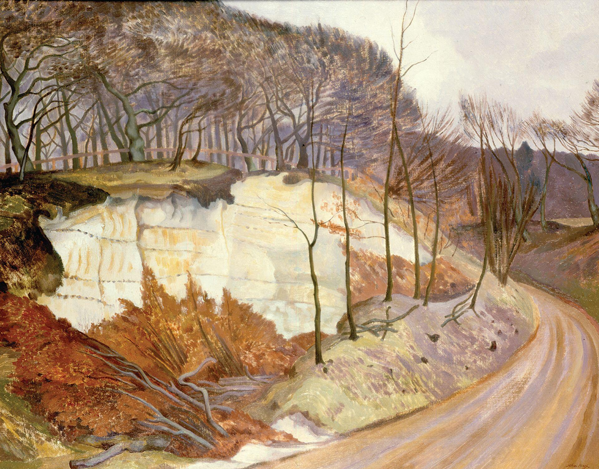 Nash's rhythmic patterning of trees against the light: Chalkpits, Whiteleaf (1923) ING UK collection, © The Estate of John Nash