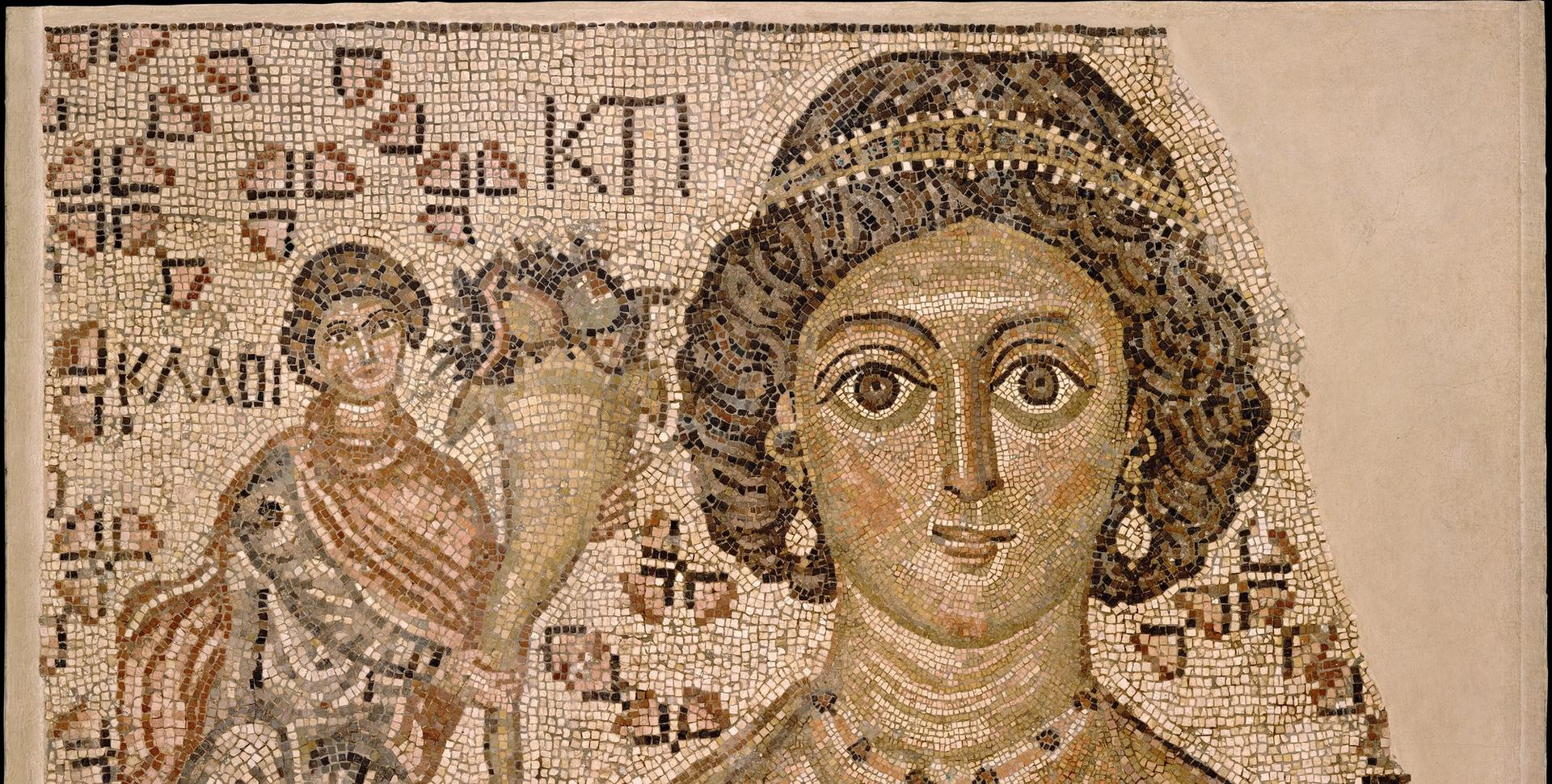 Fragment of a Byzantine floor mosaic with a personification of Ktisis (AD500-550) Courtesy of the Metropolitan Museum of Art, New York