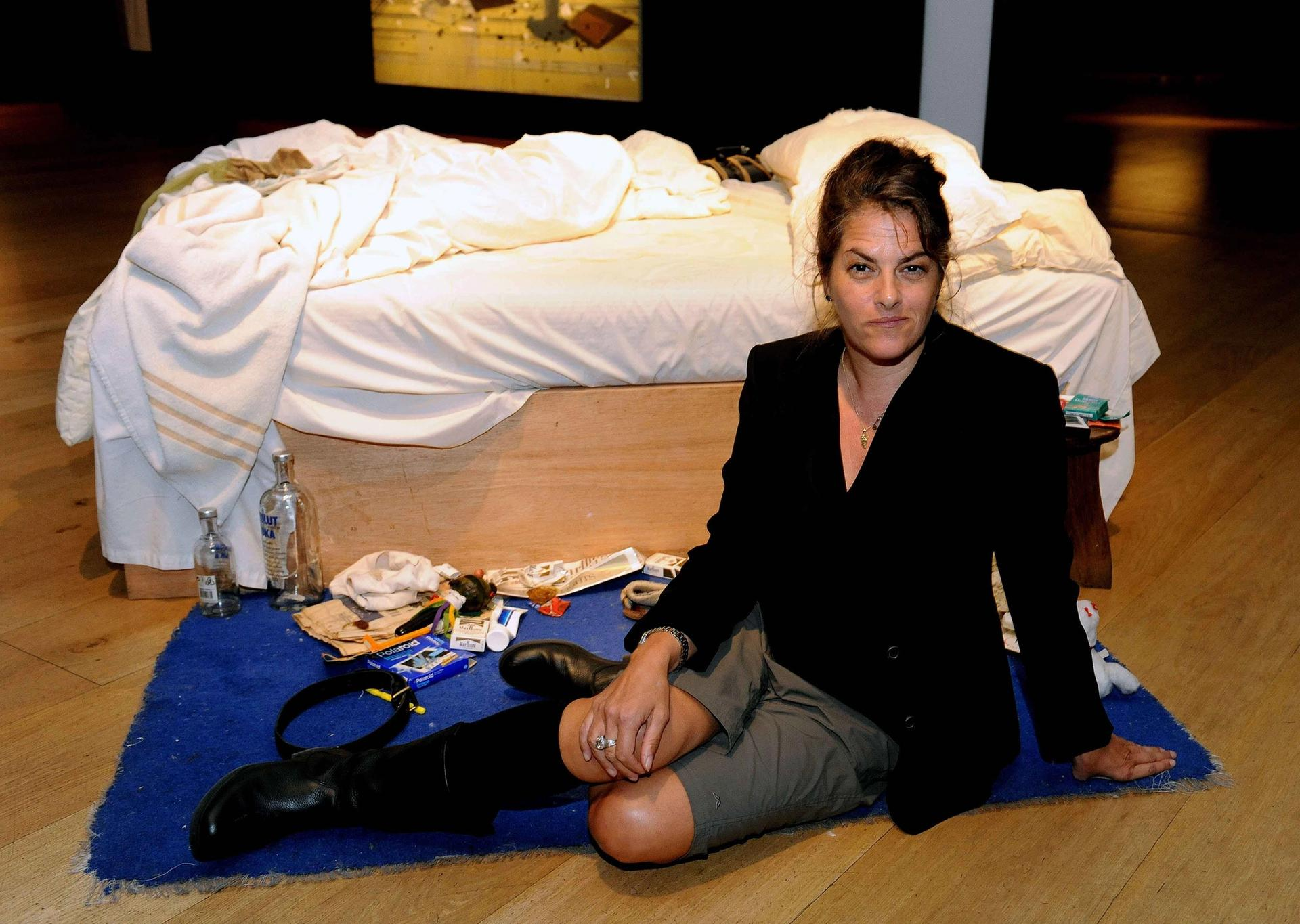 Tracey Emin with her My Bed at Christie's, London Credit: PA Images/Alamy Stock Photo