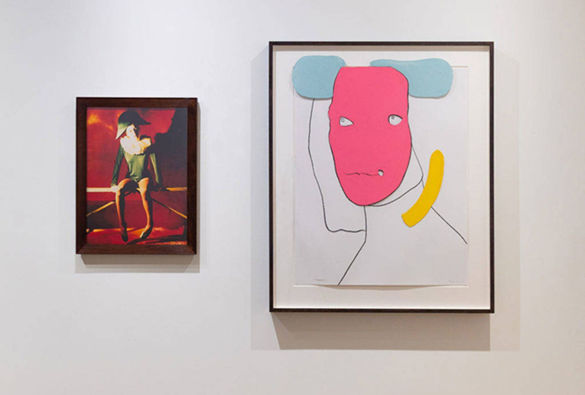 Georgie Hopton's Harlequin (Self-Portrait) (1999) will show alongside Gary Hume's'  The Flemish Bride  (2011) at the Armory Show in New York © Courtesy of the artists and Lyndsey Ingram Gallery