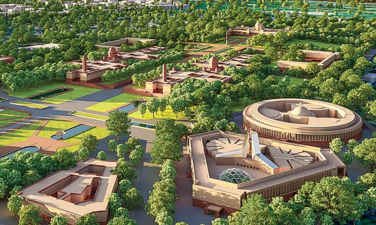 The proposal for a newly designed Central Vista of government buildings in Delhi Rendering: HCP Designs