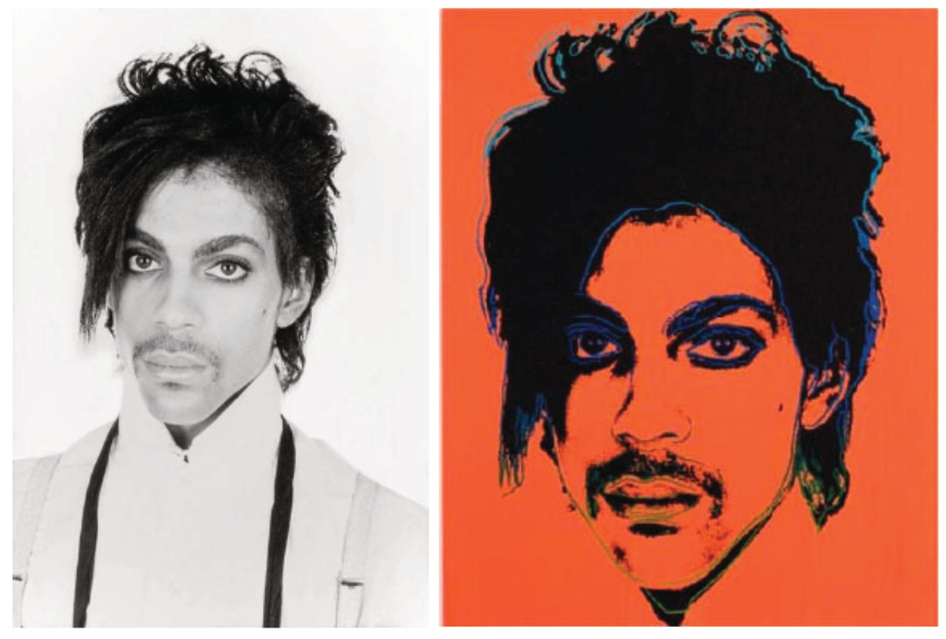 Left: Lynn Goldsmith original photograph of Prince; Right: Andy Warhol's Prince.  Photo source: court documents