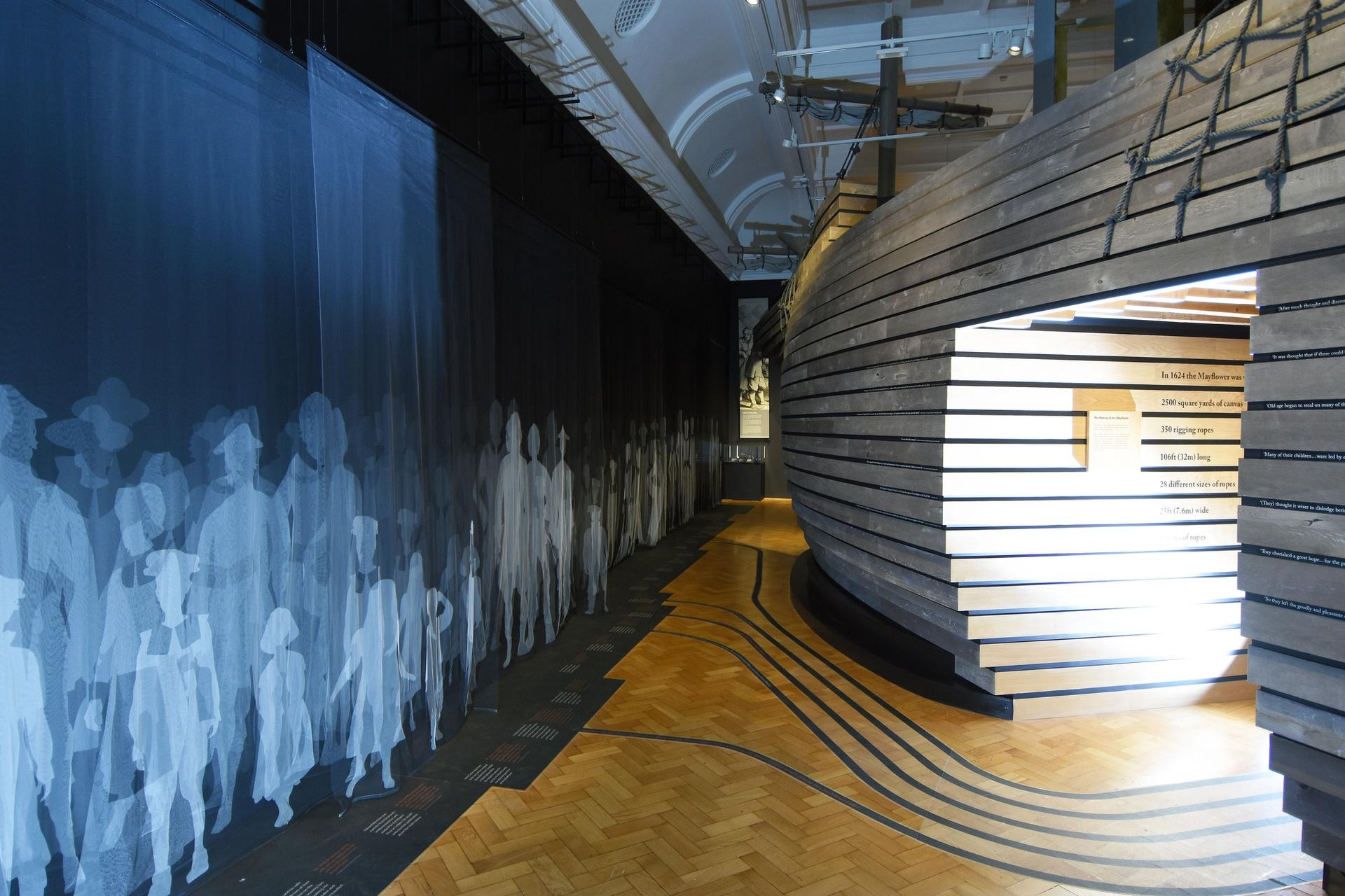 An installation shot of the Mayflower 400: Legend & Legacy exhibition at The Box Museum in Plymouth, England Courtesy of The Box Museum. Photo: Wayne Perry