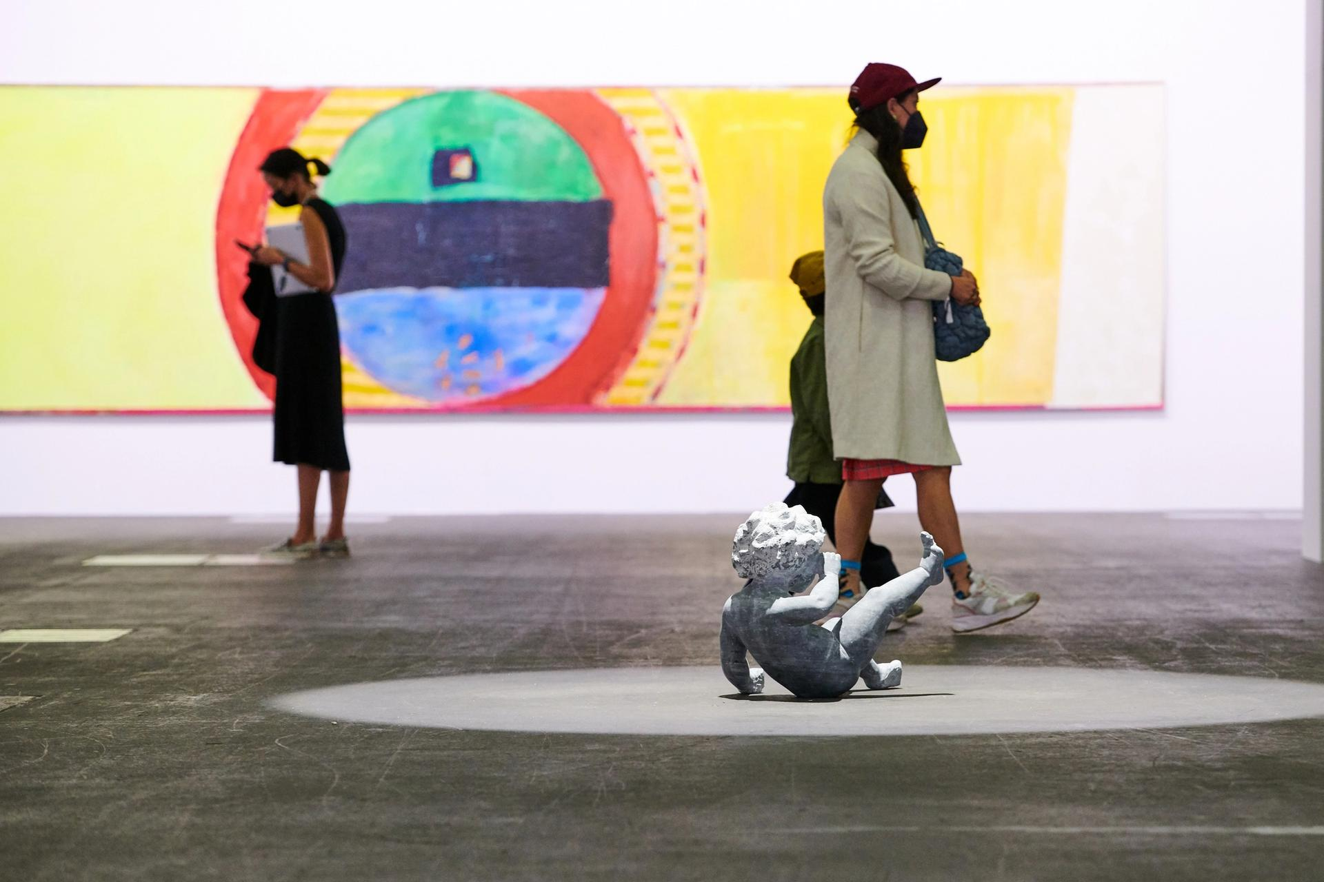 Fairgoers at Art Basel 2021's Unlimited section for large-scale works Courtesy of Art Basel