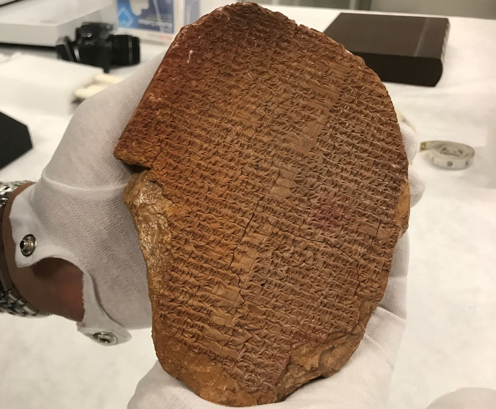 ICE's Homeland Security Investigations (HSI) New York, seized a rare cuneiform tablet bearing a portion of the epic of Gilgamesh, a Sumerian epic poem considered one the world's oldest works of literature, from the Museum of the Bible last year Photo: ICE-HSI