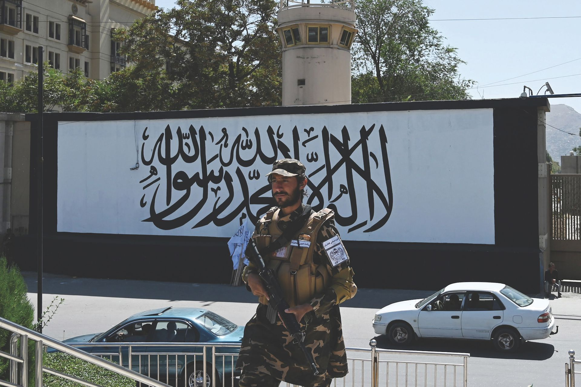 The dozen buildings that form the US embassy complex in Kabul was completed in 2013 at a cost of more than $800m. As pictured last month, it now has a Taliban flag covering the entrance. Aamir Qureshi/AFP via Getty Images