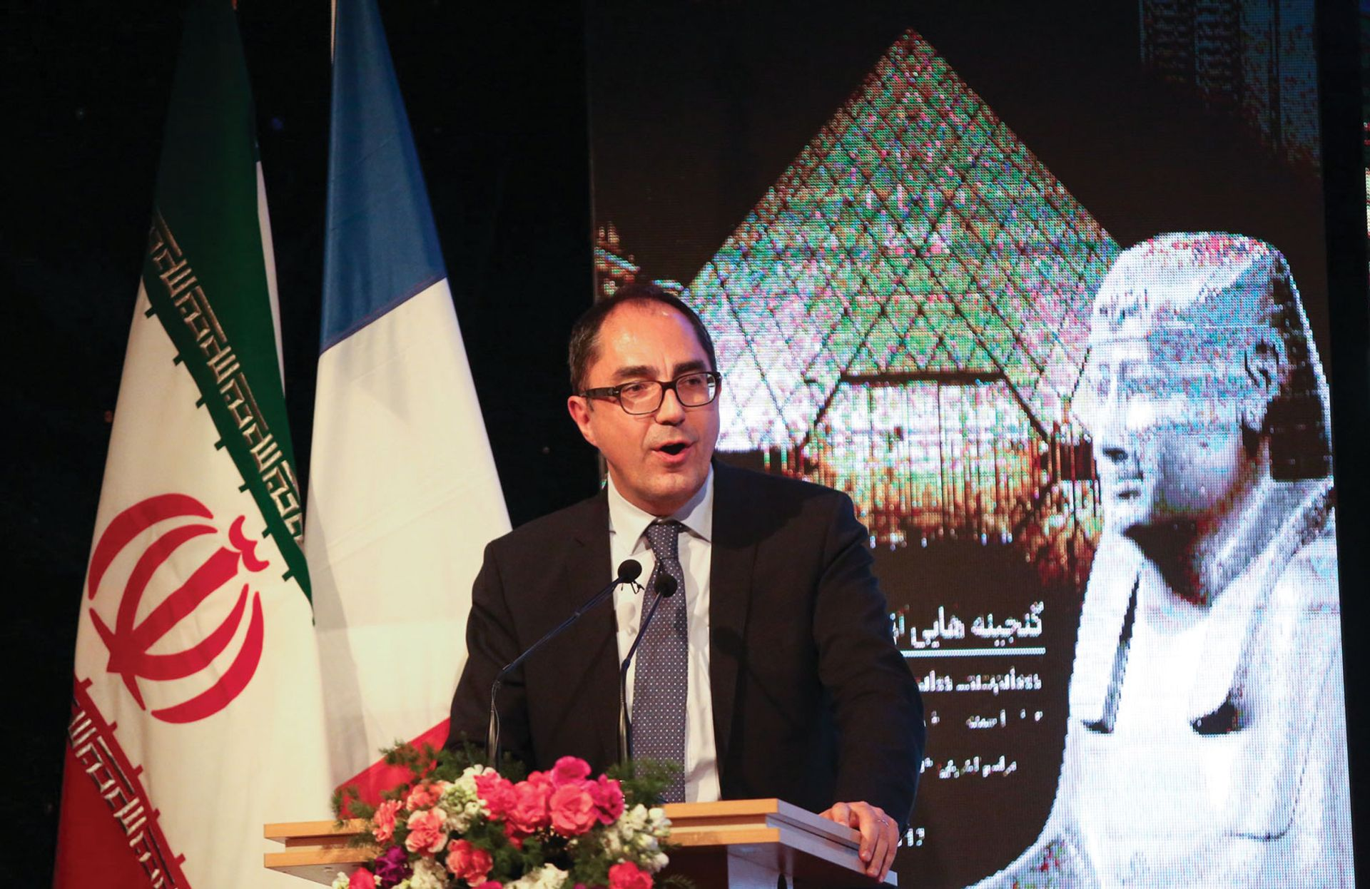 Martinez speaks at the opening of the landmark Louvre exhibition in Iran 2018 Anadolu Agency; Fatemeh Bahrami/Anadolu Agency/Getty Images